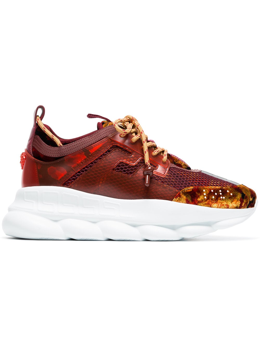 Versace Burgundy Chain Reaction Sneakers