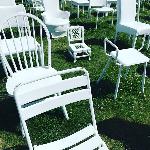 A memorial to those who died in the earthquake of 2011, 185 empty chairs of all sizes and styles. #memorial #celebratelife  #powerfulsymbol #remember