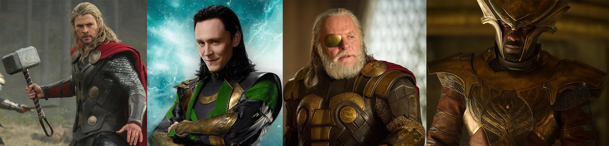 Chris Hemsworth(Thor),Tom Hiddleston(Loki),Anthony Hopkins(Odin) and Idris Elba(Heimdall).