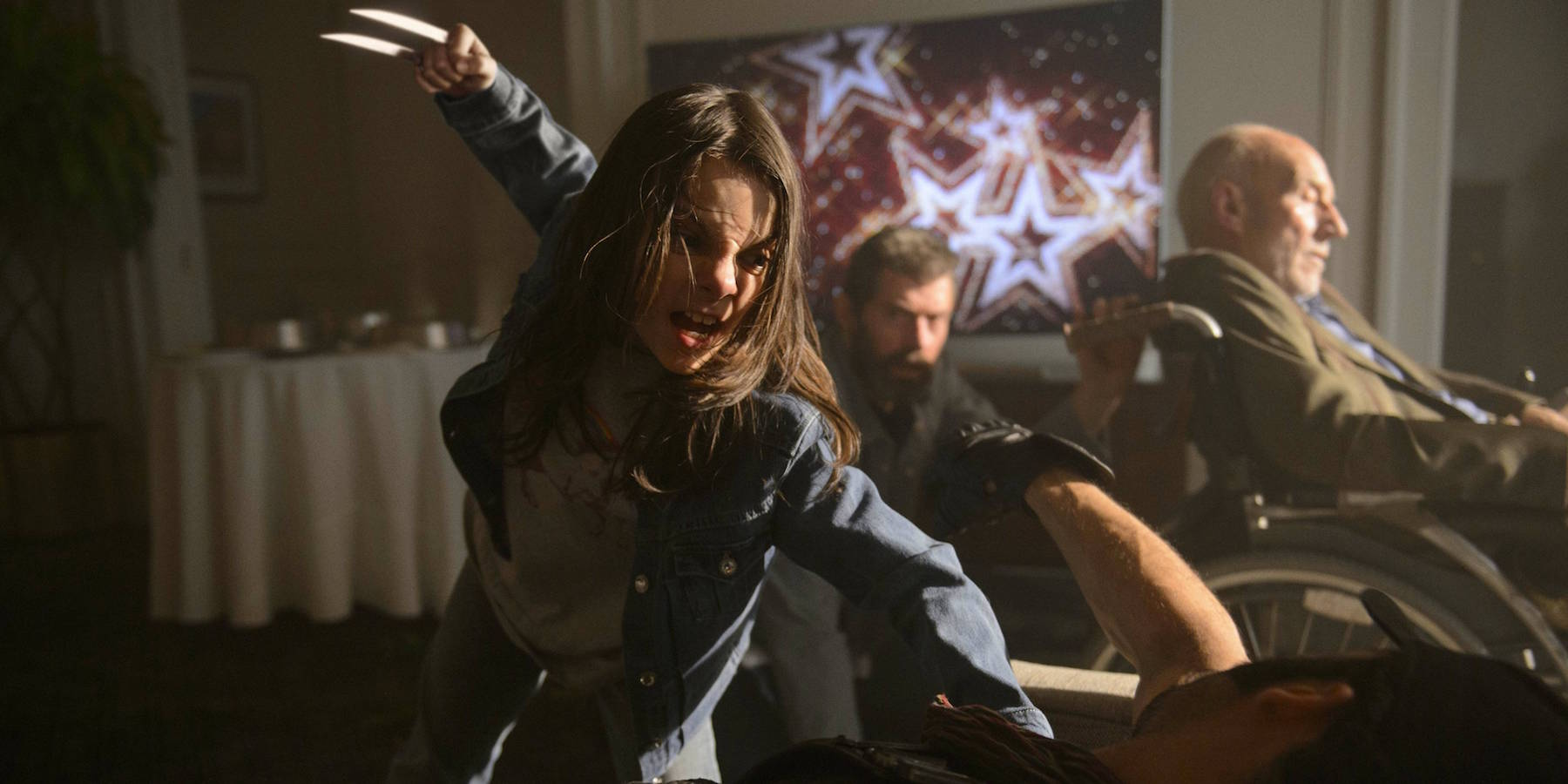 Dafne Keen as Laura/X-23 steals the show by being innocent, lovable and downright deadly at times as she shows here in a crucial scene.