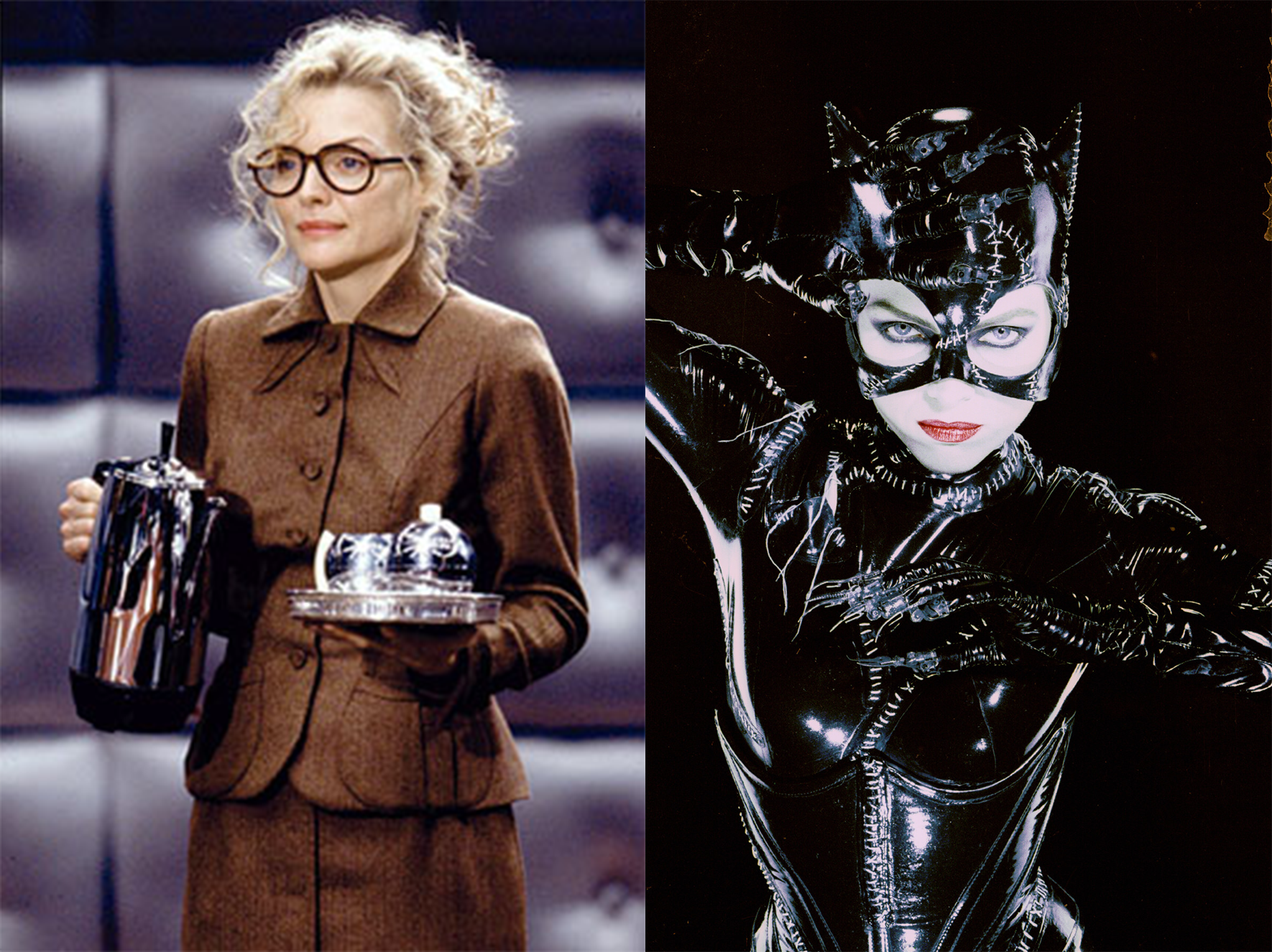 A half an hour of screen time separates these two looks for the same woman. Michelle Pfeiffer's transformation from Selina Kyle into Catwoman is terrifyingly effective.