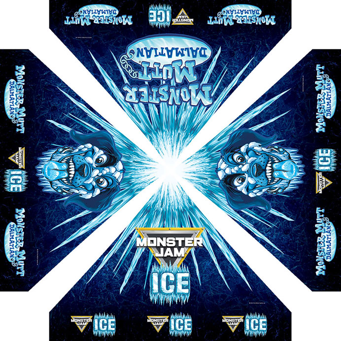 Artwork for shade tent above drivers during Monster Jam pit party autograph sessions