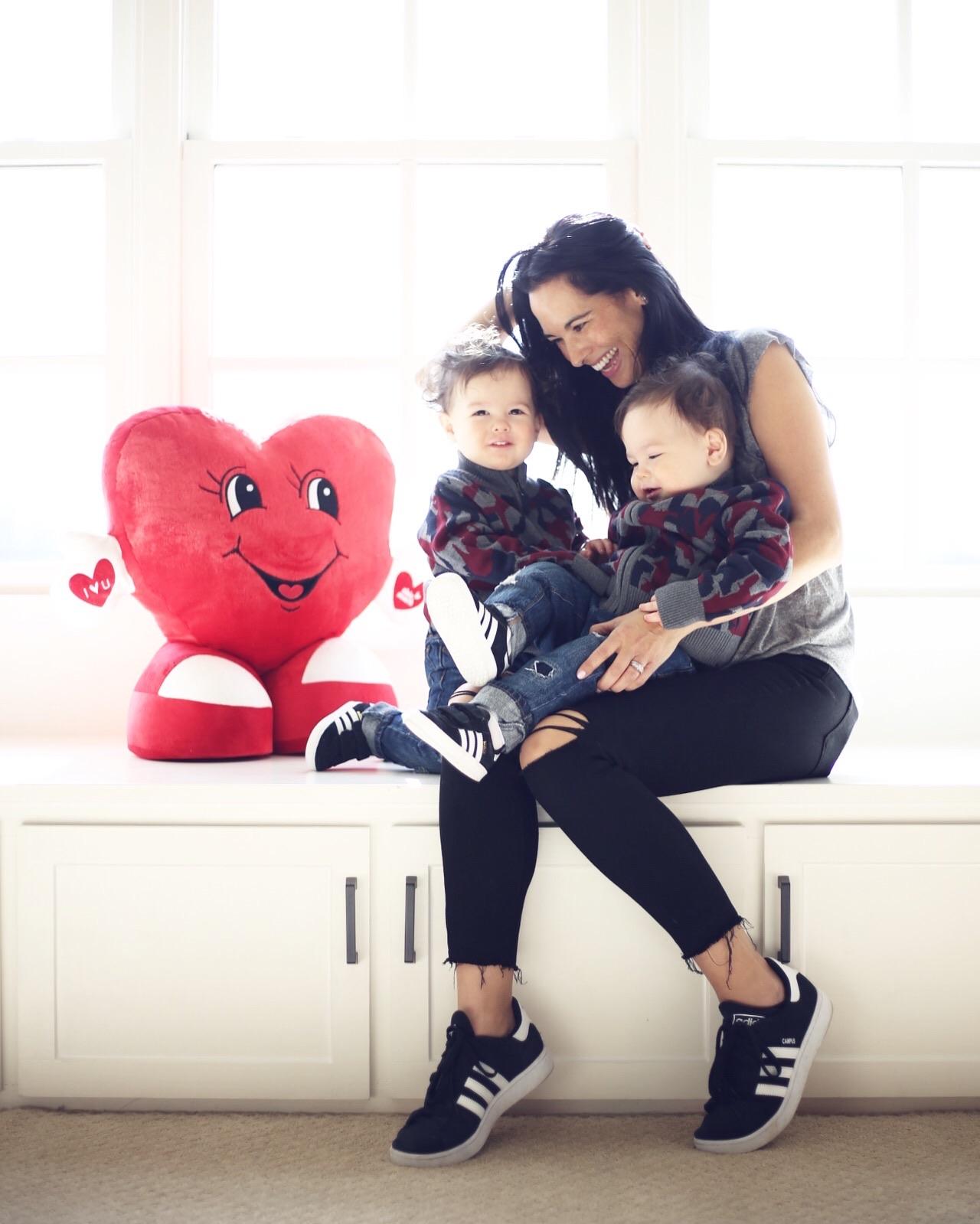 Paige  denim | grey  tee  |adidas  shoes  | adidas  shoes  mini | toddler  denim  | toddler  sweater  |  photo by Sydney Clawson