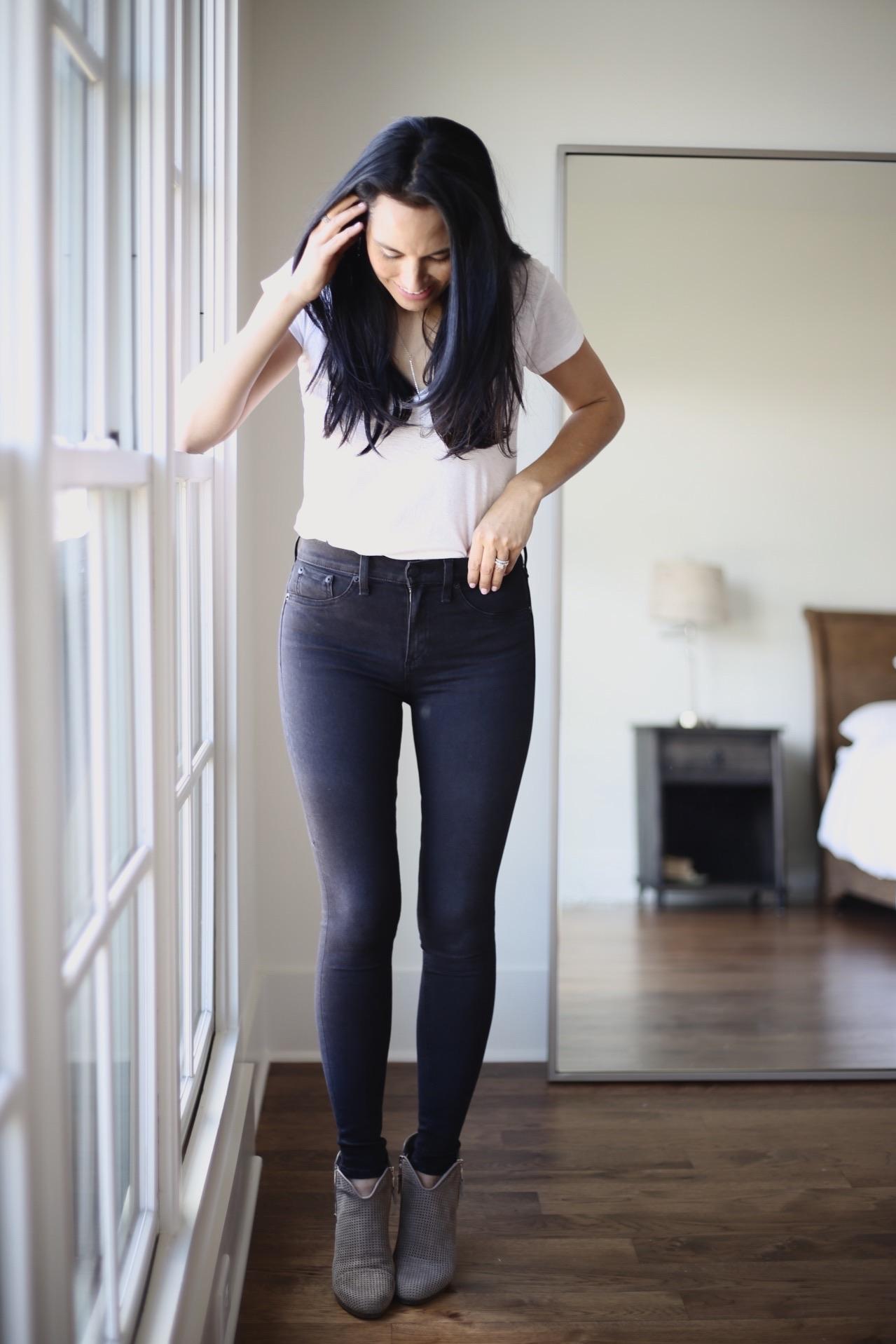 denim    white tee  similar     booties    photo by Sydney Clawson  