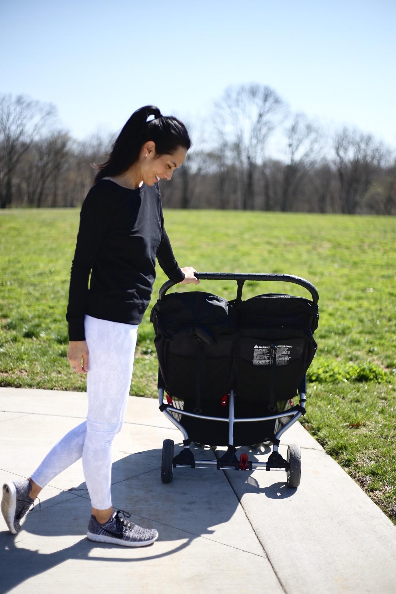 |  Alo leggings  |  Nike sneakers  | Zella top similar  |  double stroller  | image: Sydney Clawson |