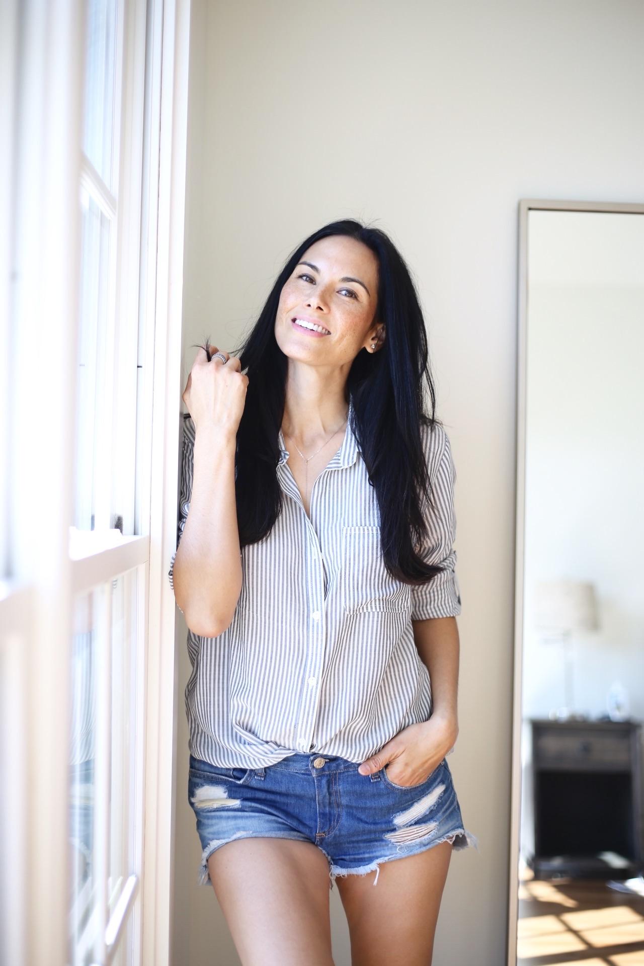 striped blouse  similar  | rag and bone  cutoffs  | image : Sydney Clawson |