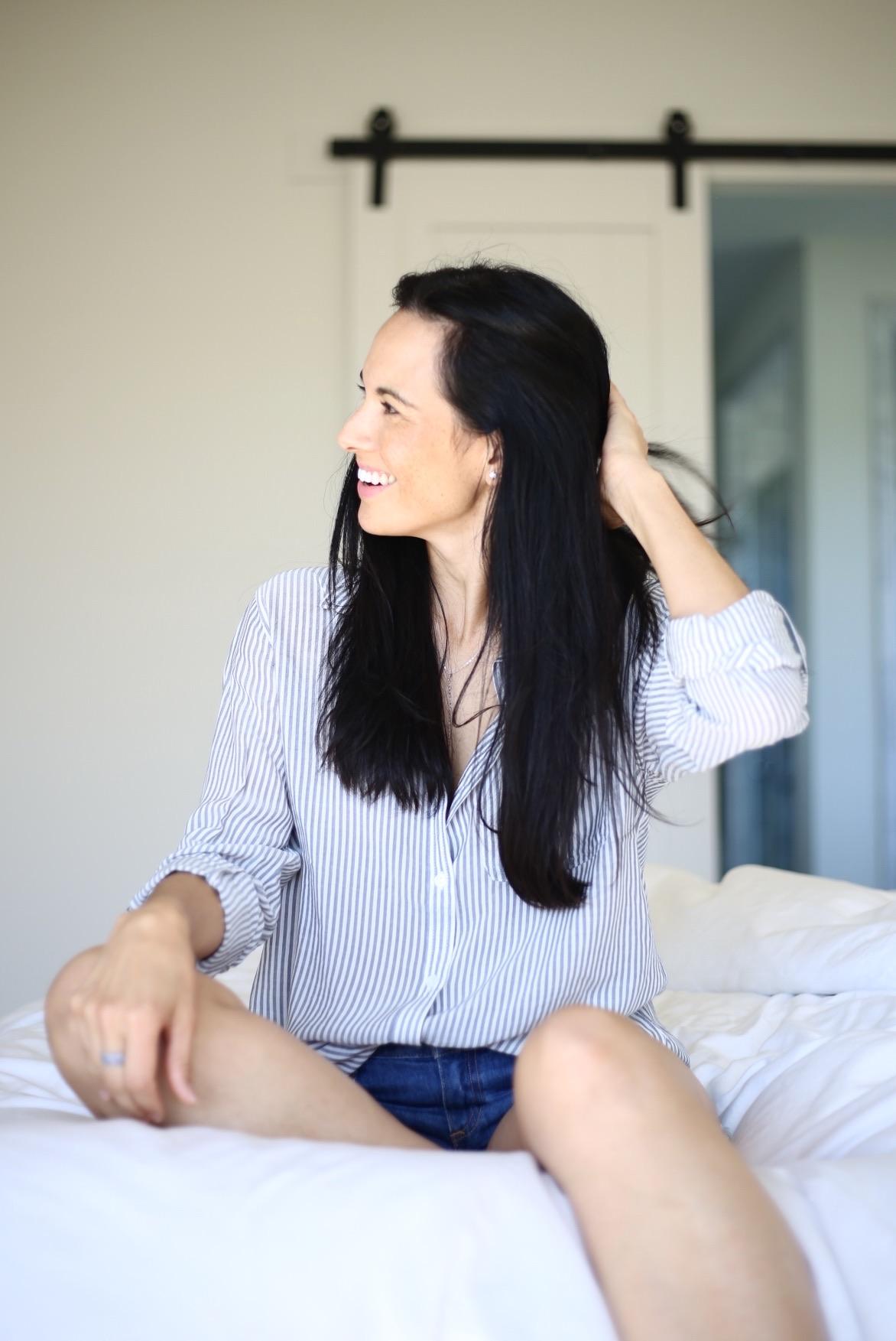 |  striped shirt similar  |  denim cutoffs  | image: Sydney Clawson |