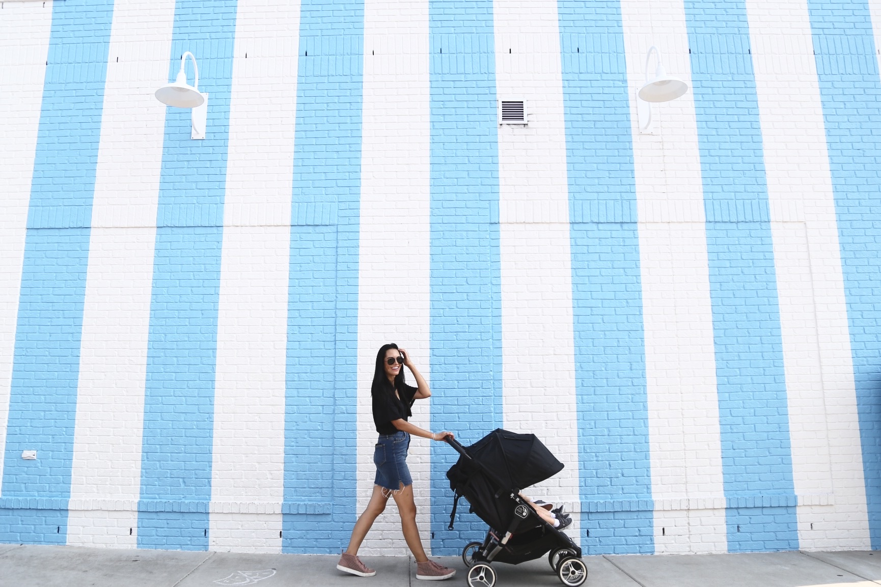 |  denim skirt  |  tee  |  sunnies  |  pink high tops  |  stroller  | image by Sydney Clawson |