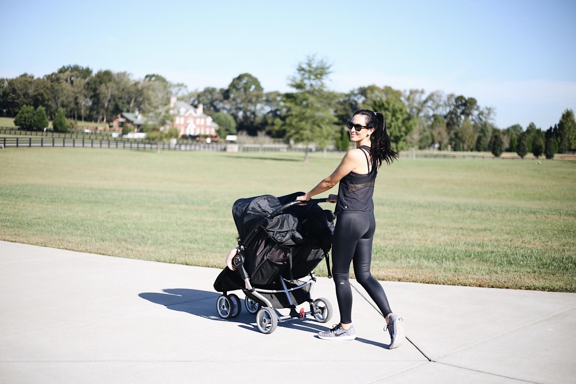    double stroller     Alo leggings     tank (similar)     Nike sneakers     sunnies    image:sydney clawson  