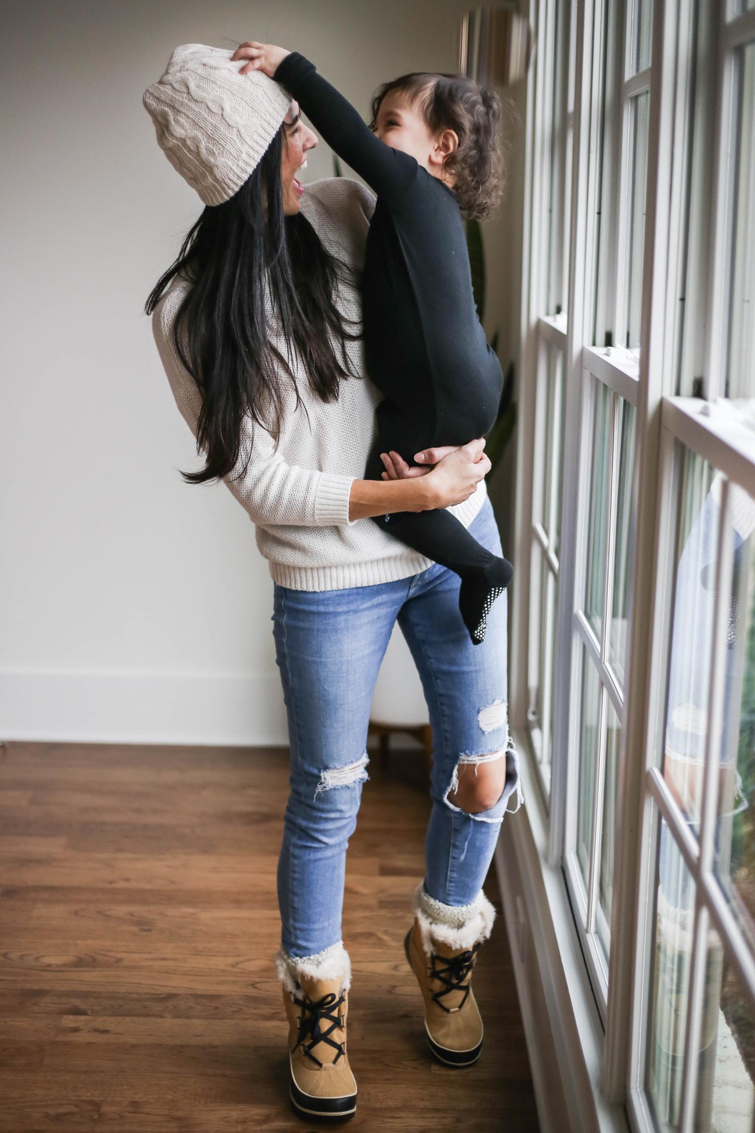 |  chunky cozy sweater  |  denim  |  sorel boots  |