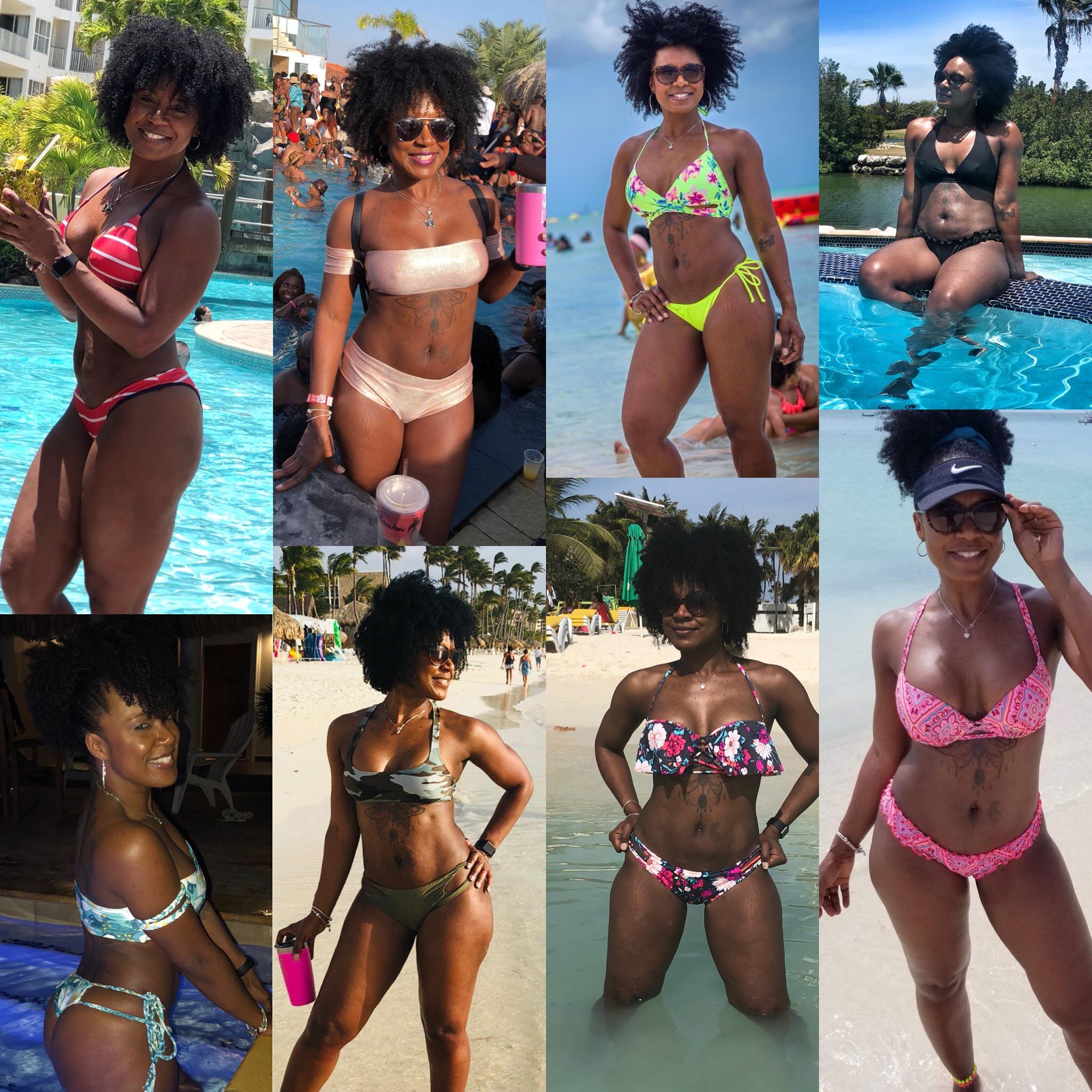 The bikinis that traveled with me to Aruba.