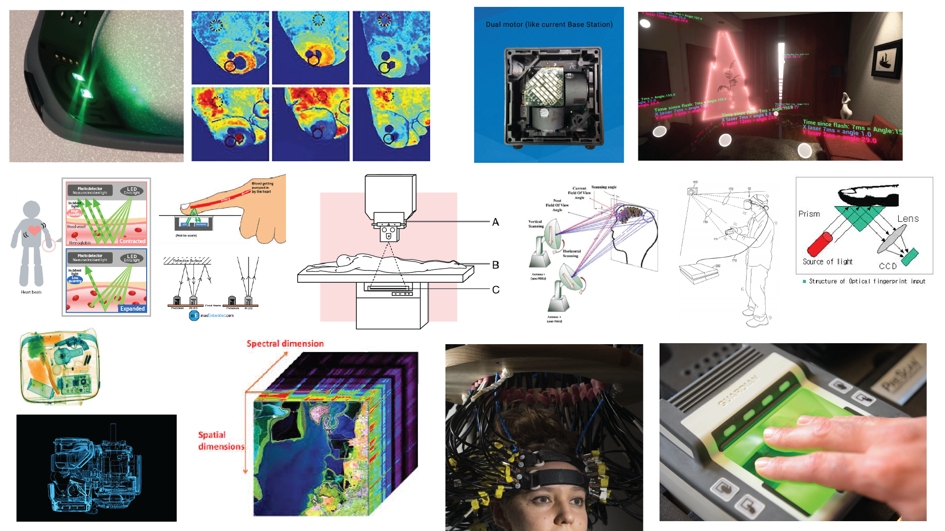 Mood board of imaging system diagrams, scanned imagery as well as scanning equipment