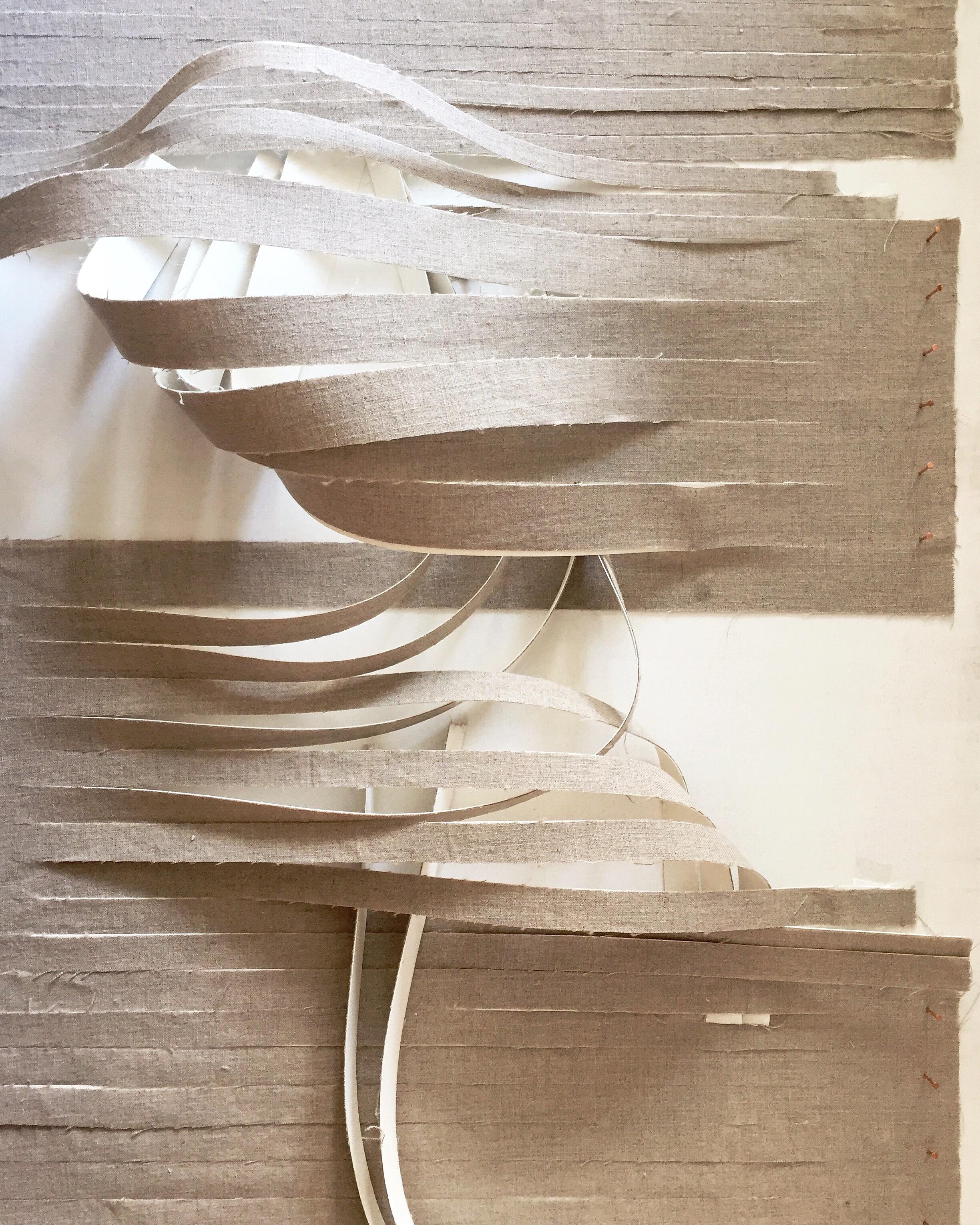 "topo 001   linen, watercolor paper, plywood, copper tacks  24""x48""  2016"