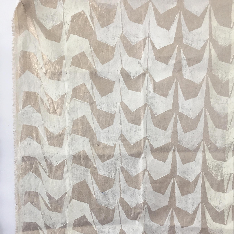 "wing   block print on metallic linen  30""x30""  2015"