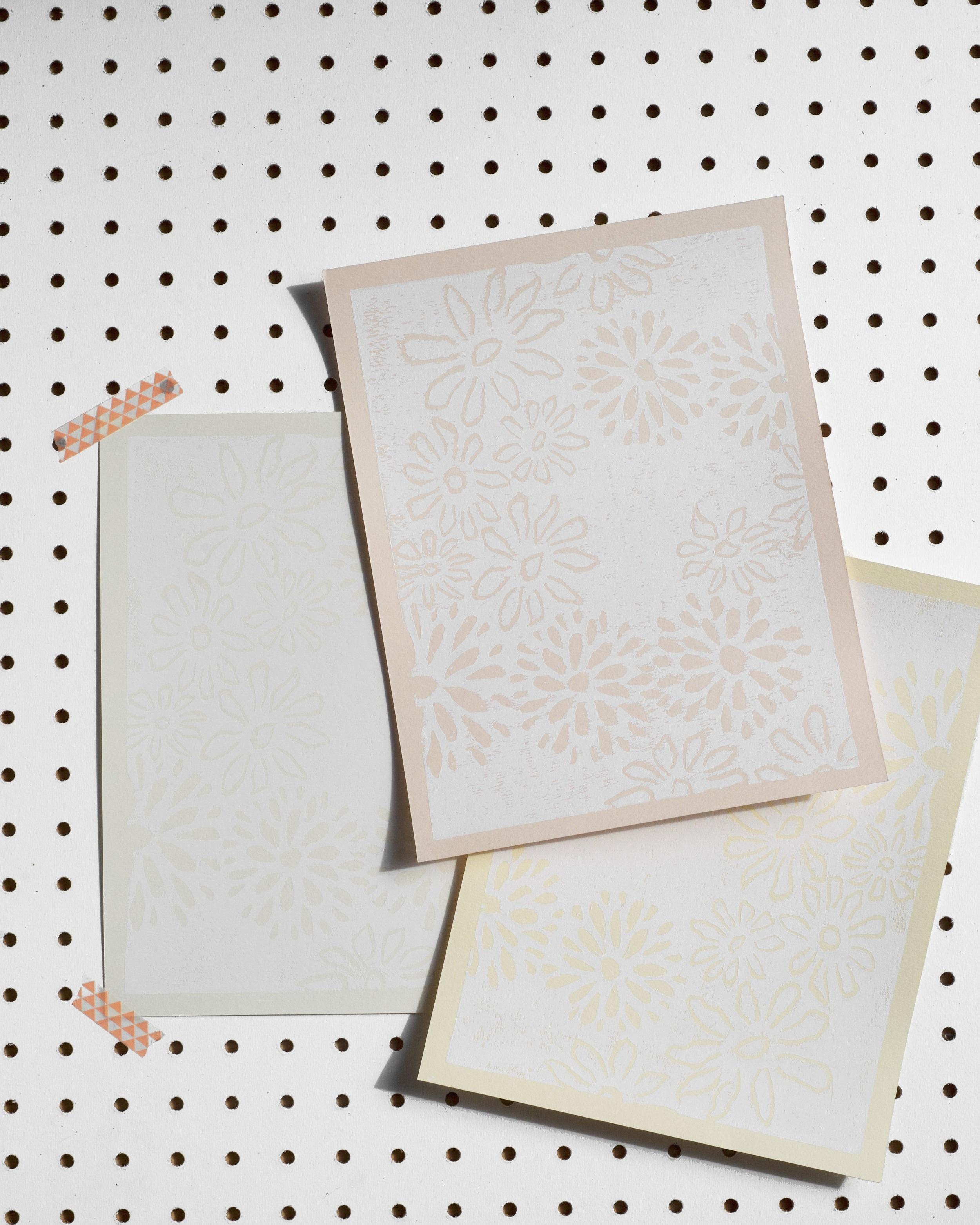 "flora   block print on cotton paper  8.5"" x 11""  2019"