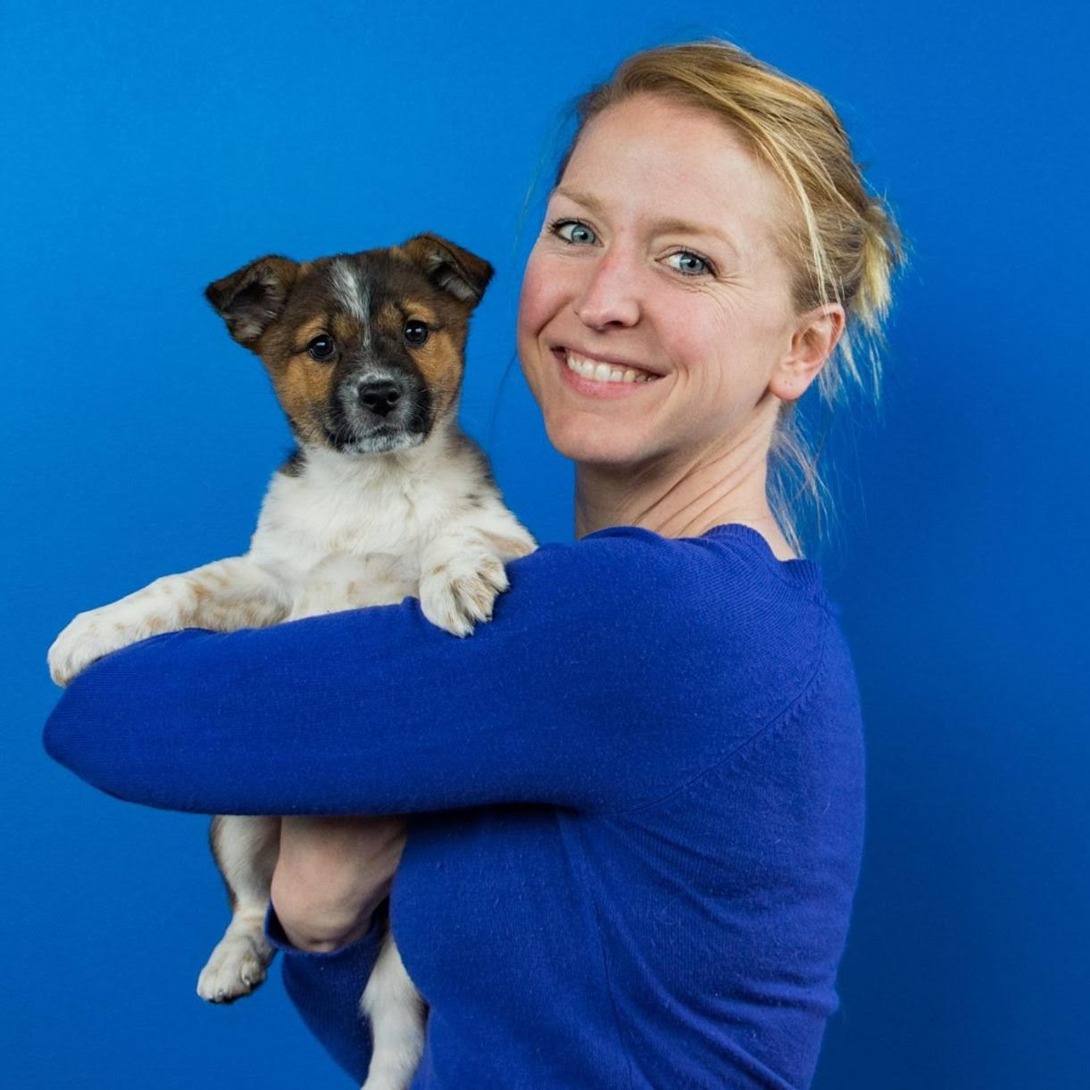 Kimberly and a shelter puppy