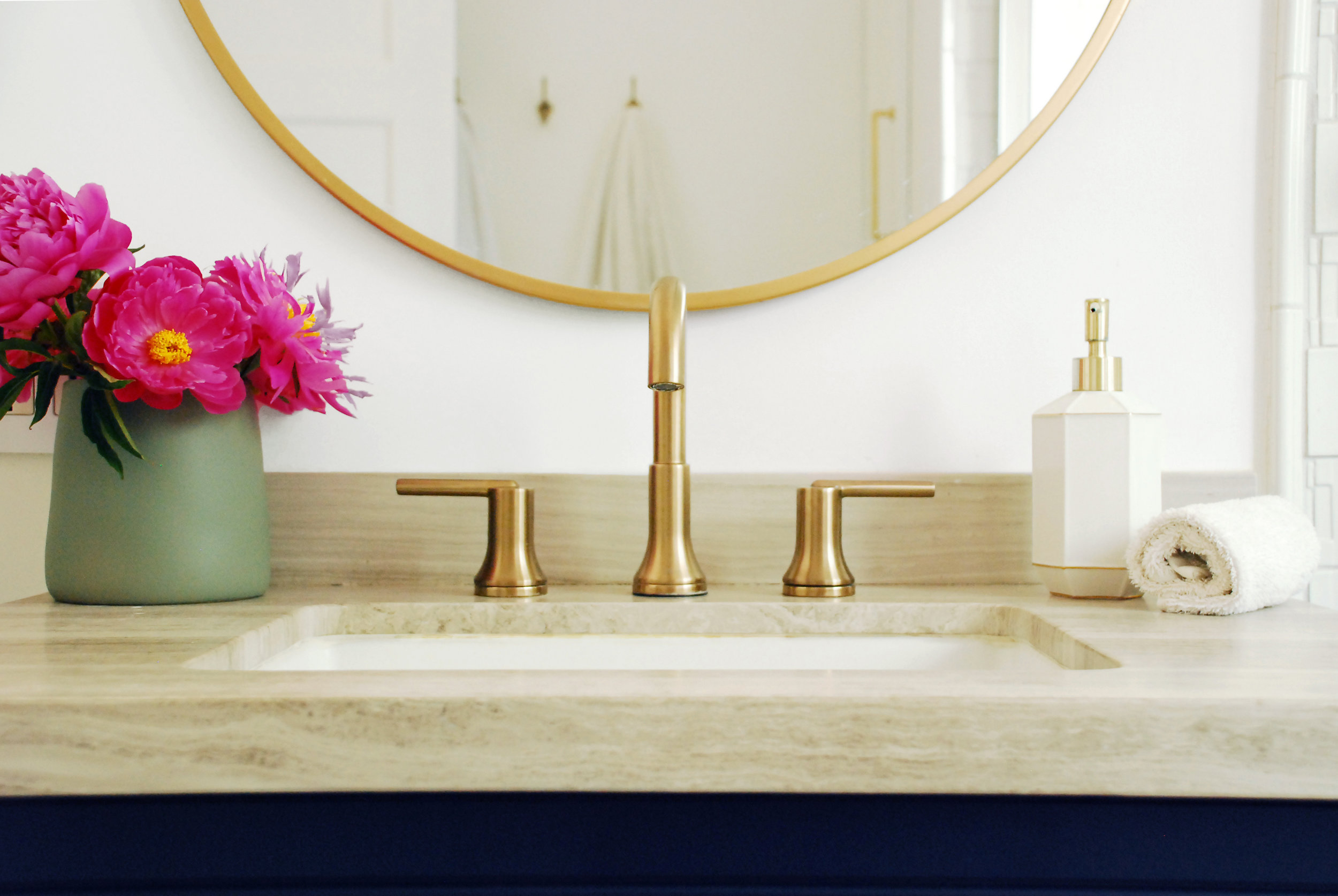 Delta Trinsic Faucet in Champagne Bronze | Bathroom design by Stay Interiors