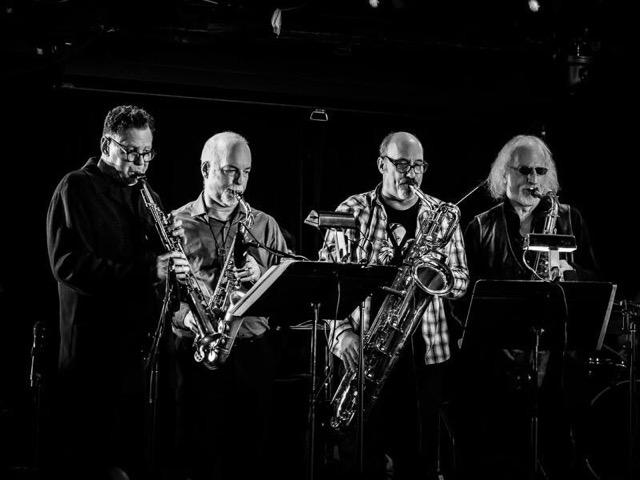L-R: Bruce Ackley, Steve Adams,Jon Raskin, Larry Ochs. Photo credit: Peter Gannushkin