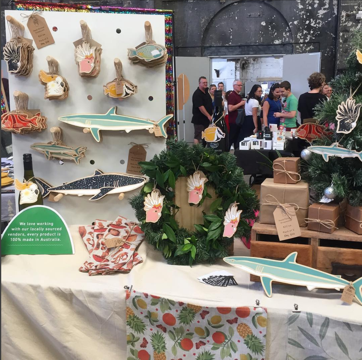 Market table at the Carriageworks Christmas Market in December