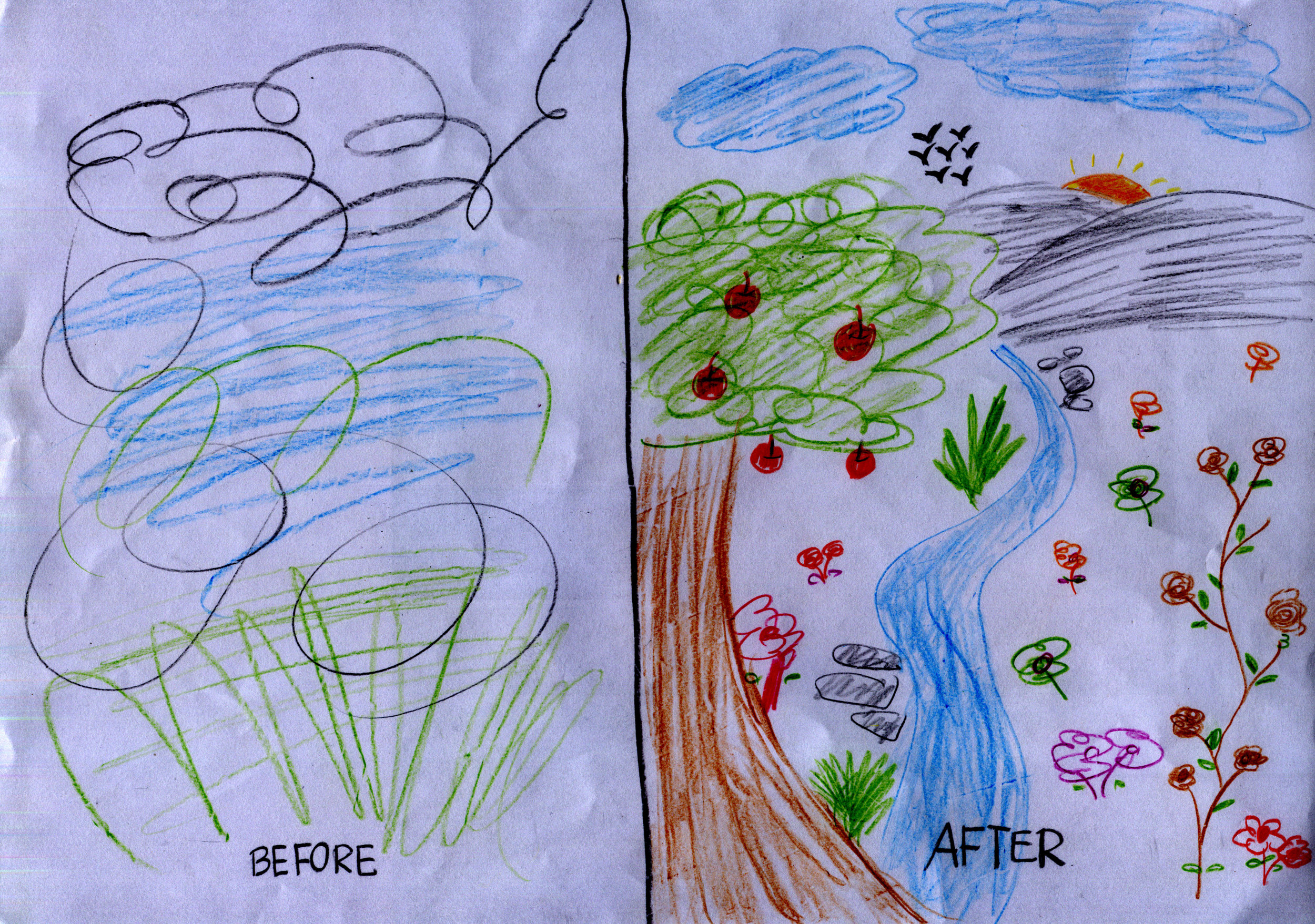 Art work from a mother who reflected on how she felt at the start and then at the end of a 10 week group intervention with Karin.