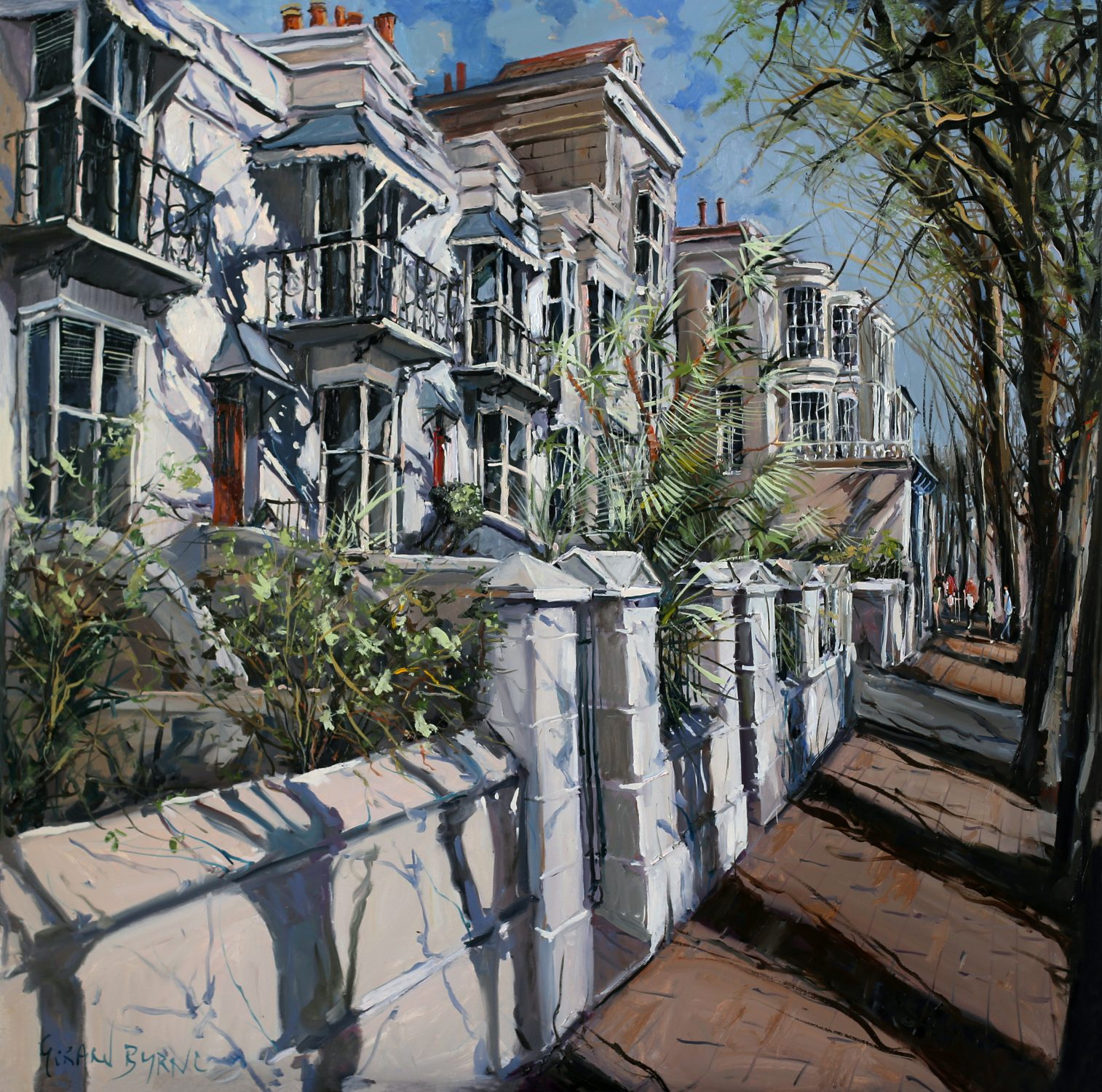 St. Patrick's Day on Montpelier Terrace Brighton, oil on canvas 108 x 108cm