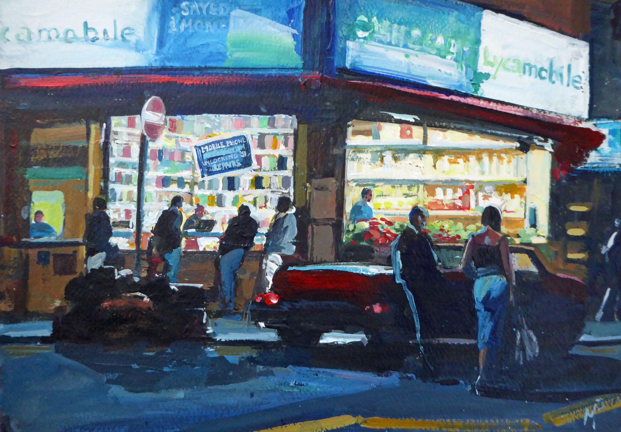 Convertible Rye Lane, acrylic & ink on panel, 30 x 42 cm