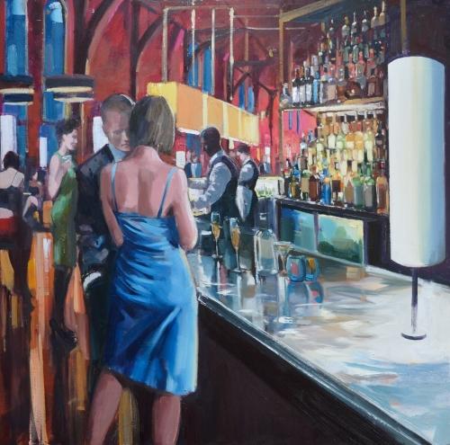 Drinks at the renaissance bar, oil on canvas, 95 x 95 cm