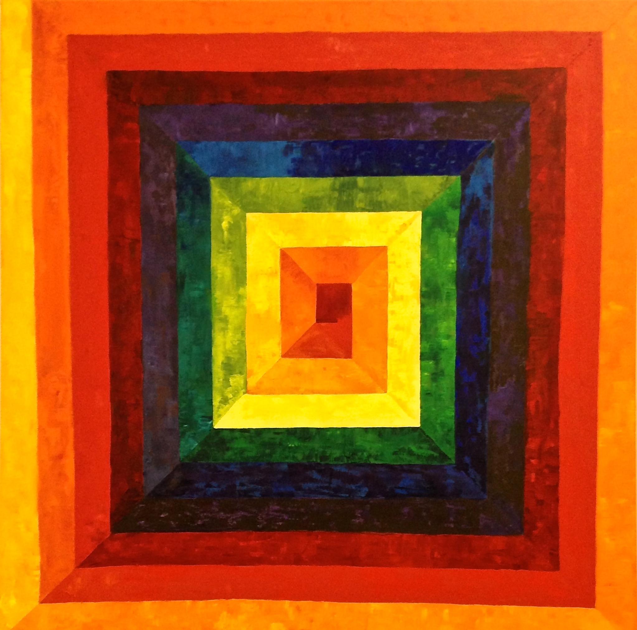 Rainbow Spiral I, 2016. Oil on canvas, 90 x 90 cm
