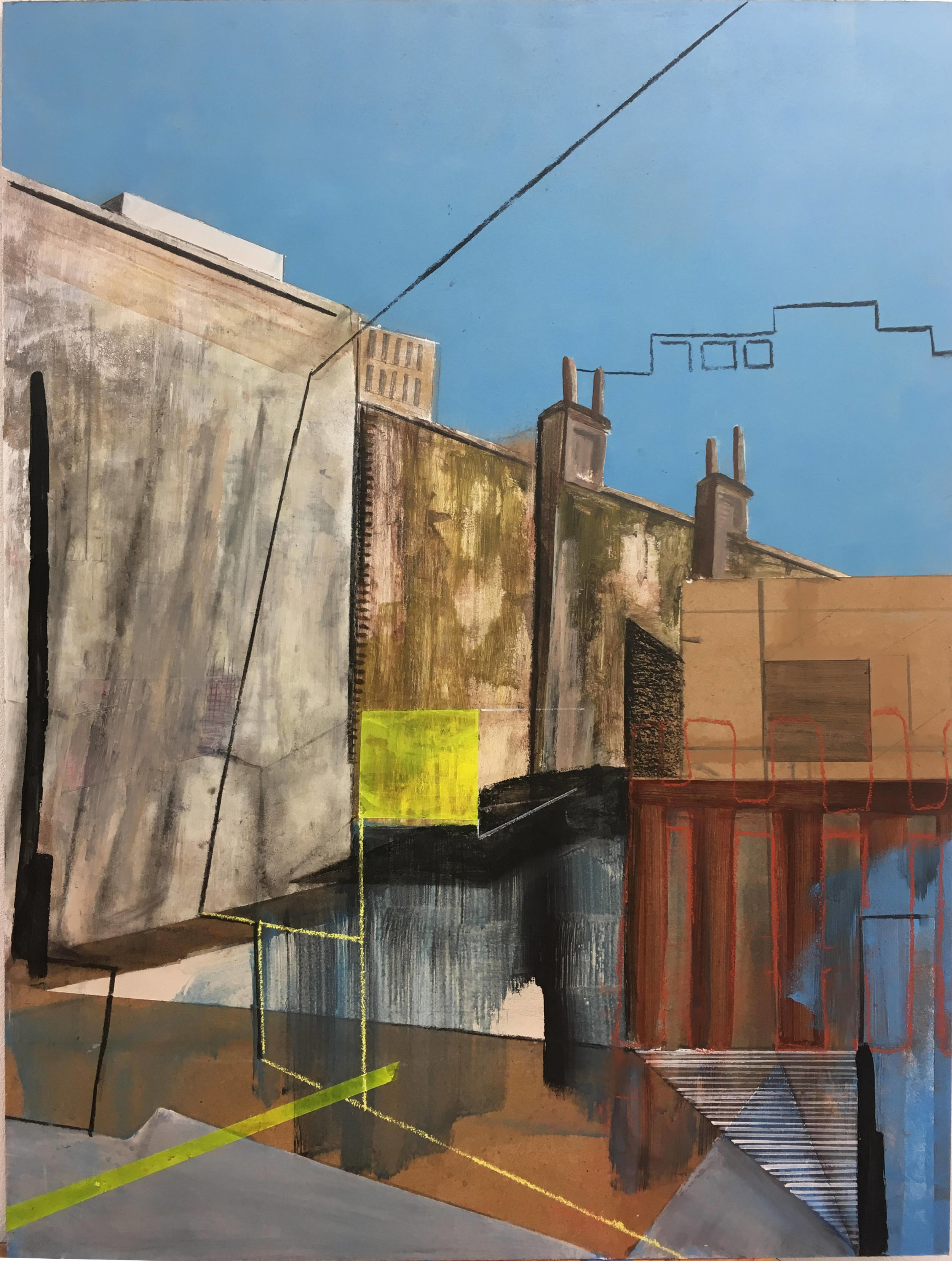 Urban Landscape with Yellow Square