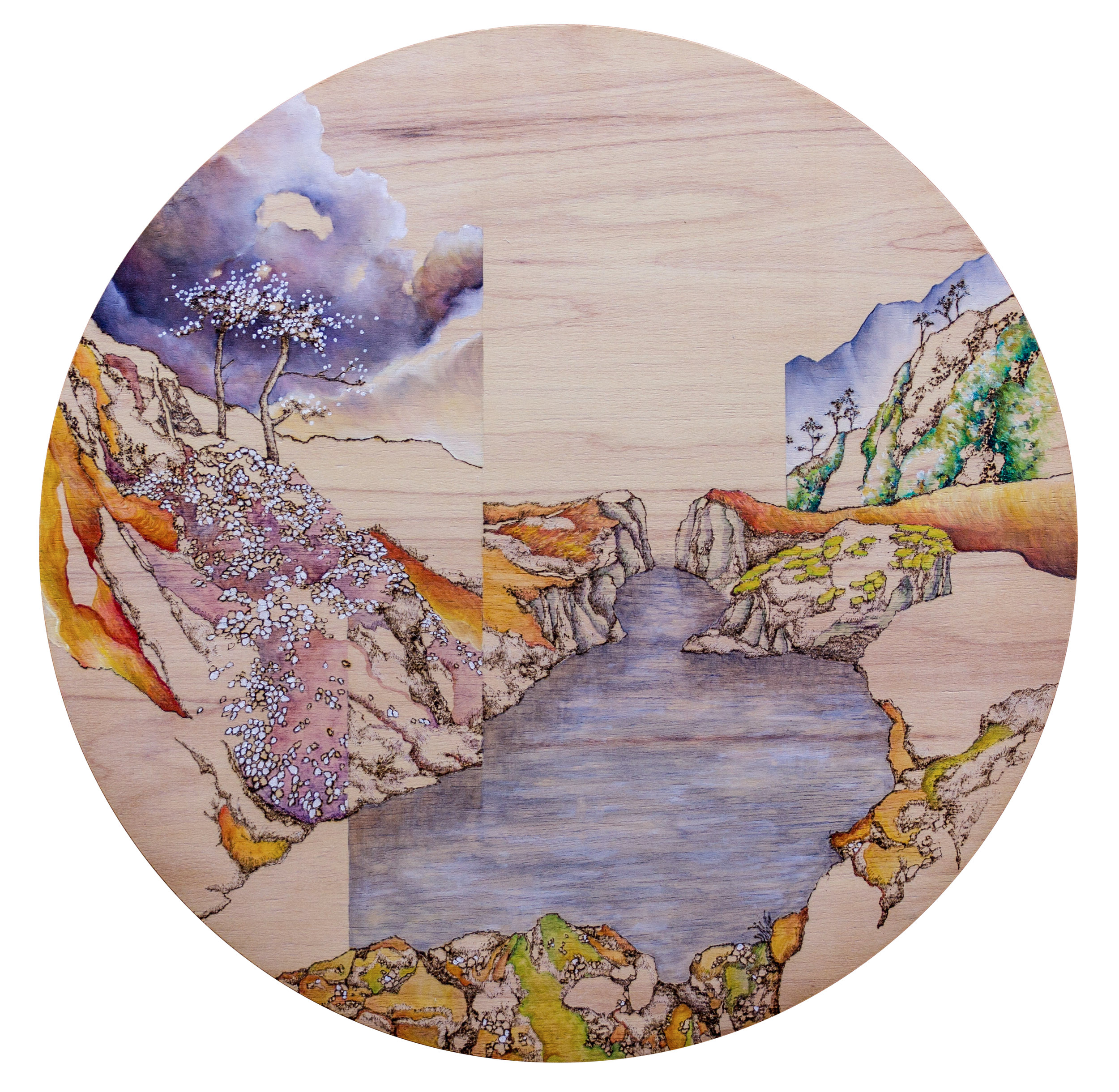 Passage, 2016. Oil and Pyrography on Wood, 51 cm diameter
