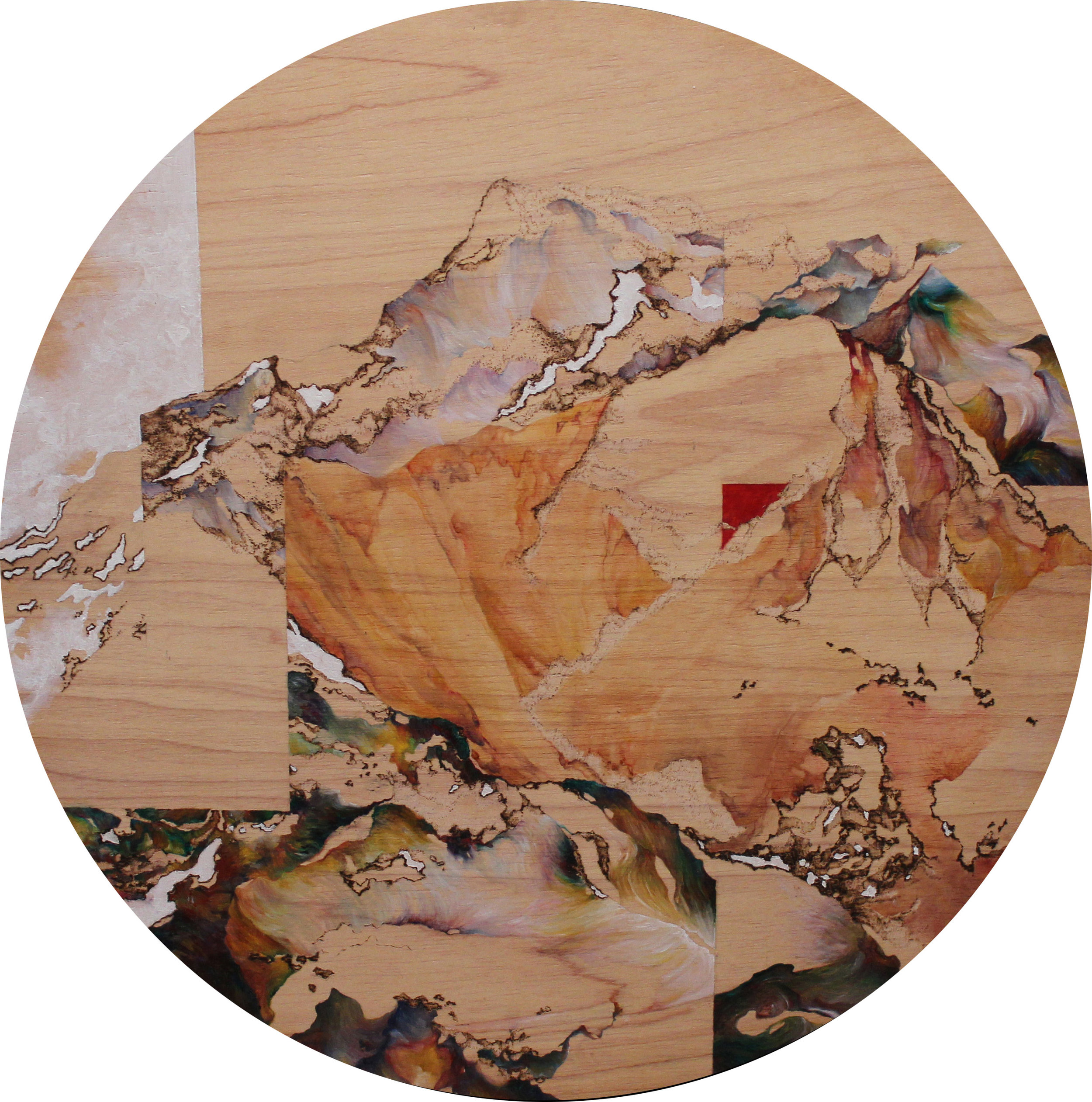 Danxia, 2016. Oil and Pyrography on Wood