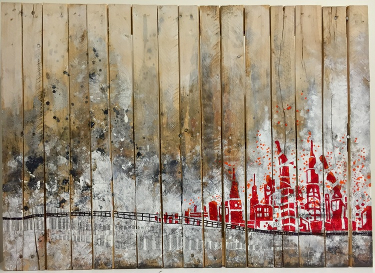 Part, 2016. Pen, pencil and acrylic on wooden pallet. 95 x 65 cm