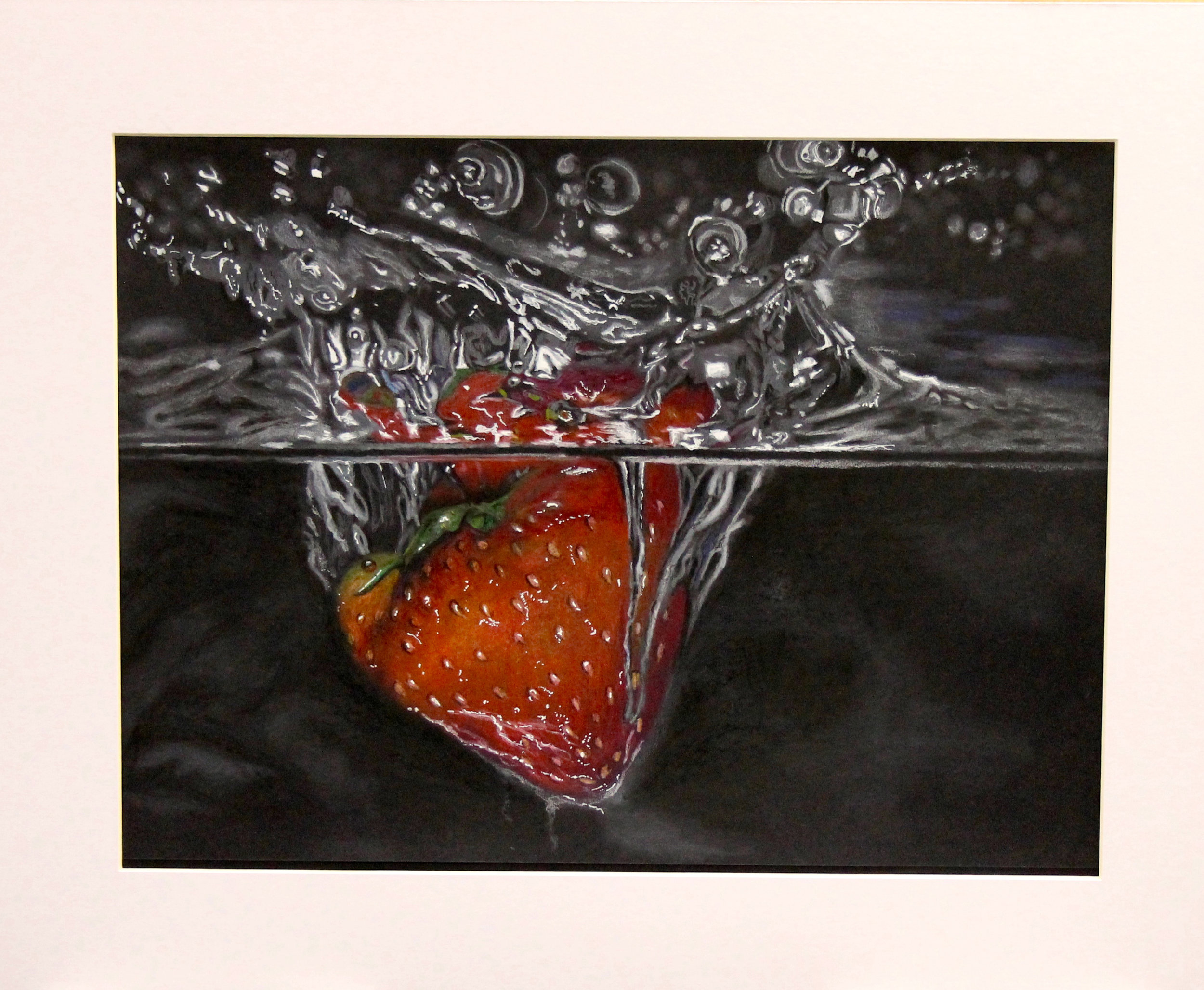 Strawberry in water: Coloured, 2016.Pencil on black paper. 43 x 53 cm