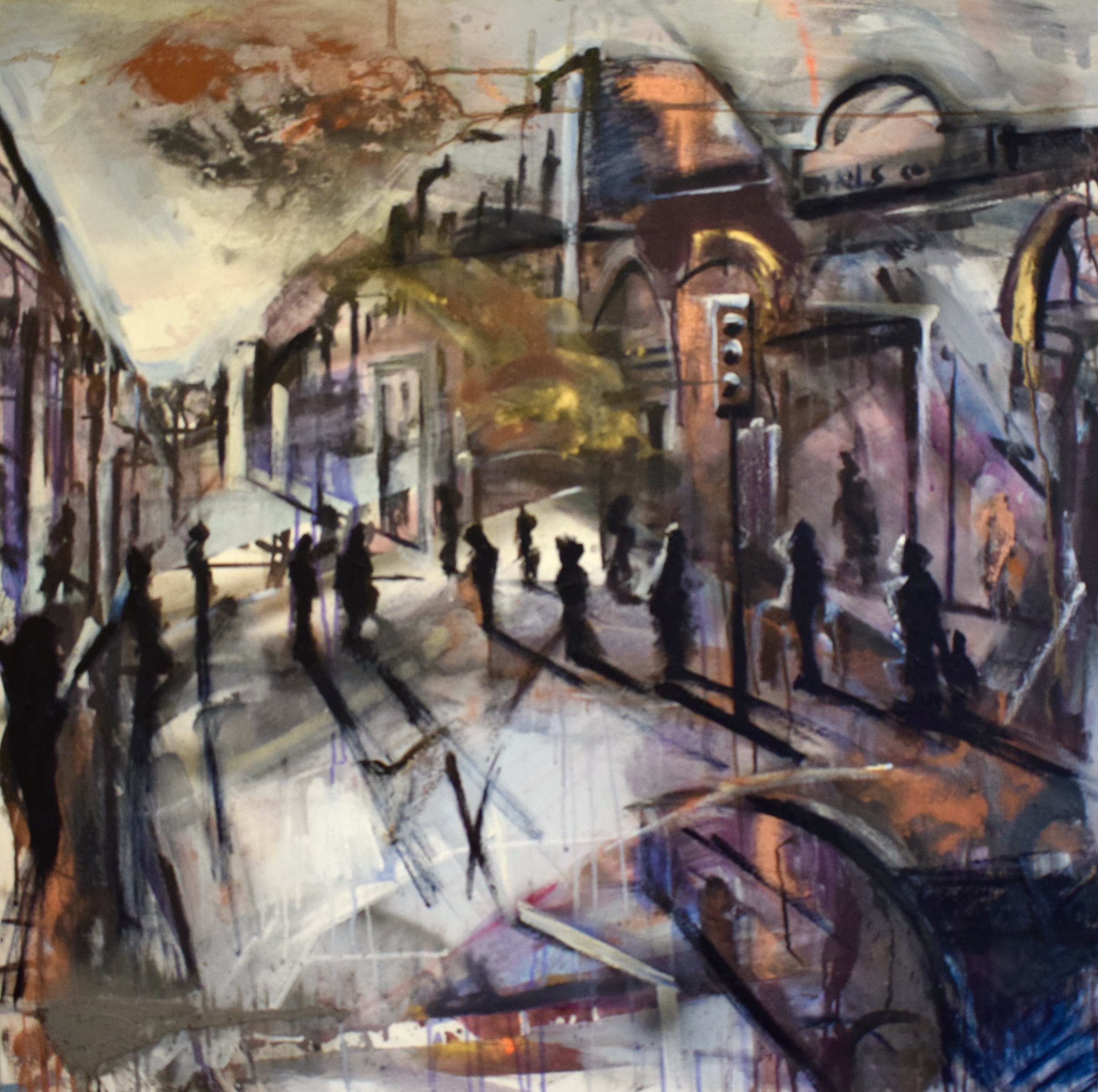 Crossing. Mixed Media on canvas. 1 x 1m £2000, Tom Cox + Judith Brenner.jpg