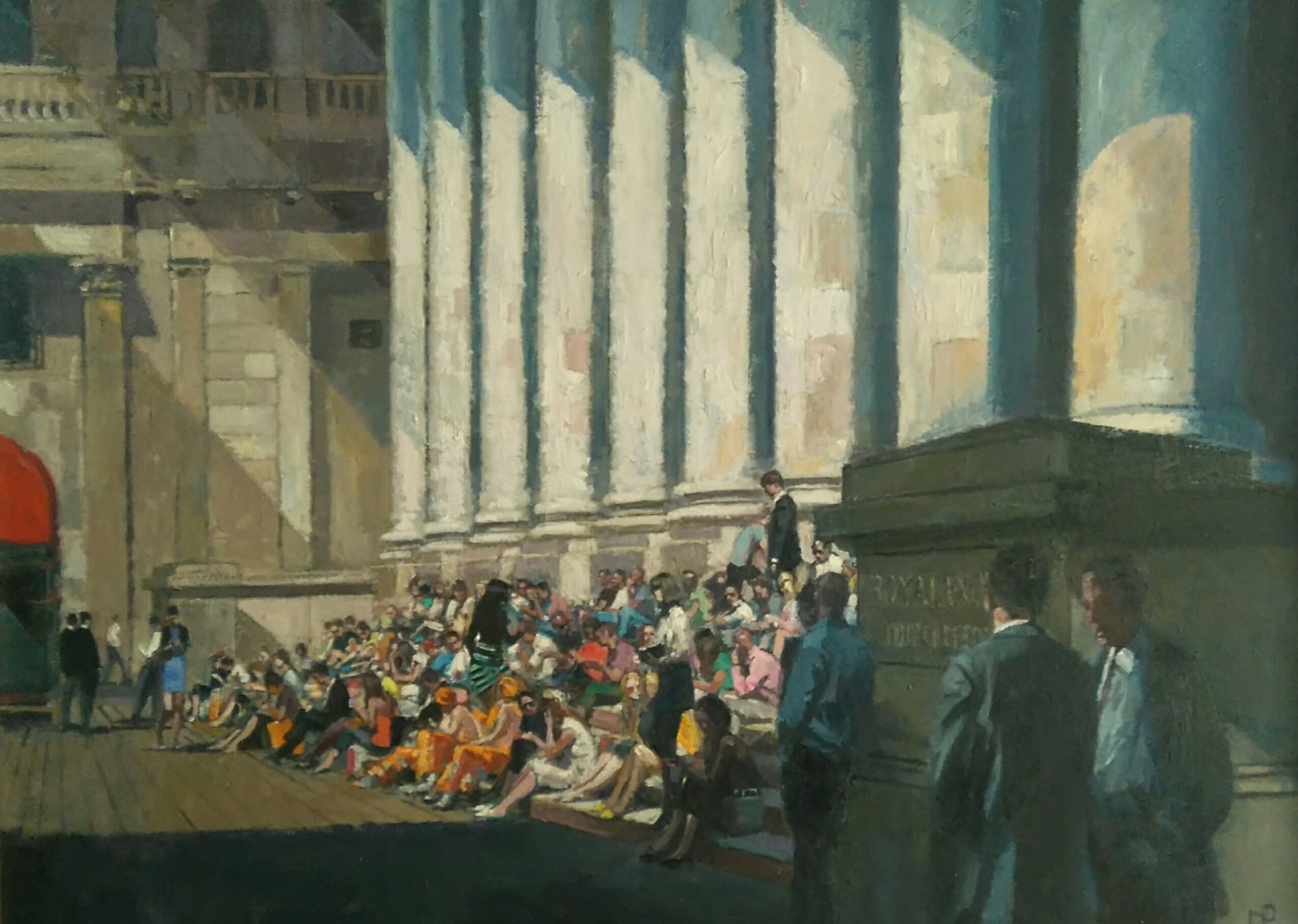 Lunchtime Royal Exchange,2017   Oil on canvas  83 x 109 cm