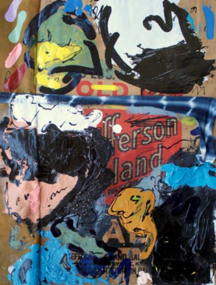 "Jonni Cheatwood, ""It Won't Bring Elliott Smith Back"" (2017), Oilstick, Acrylic and Enamel on Found Bag, 49x 37 cm (framed), £1200"