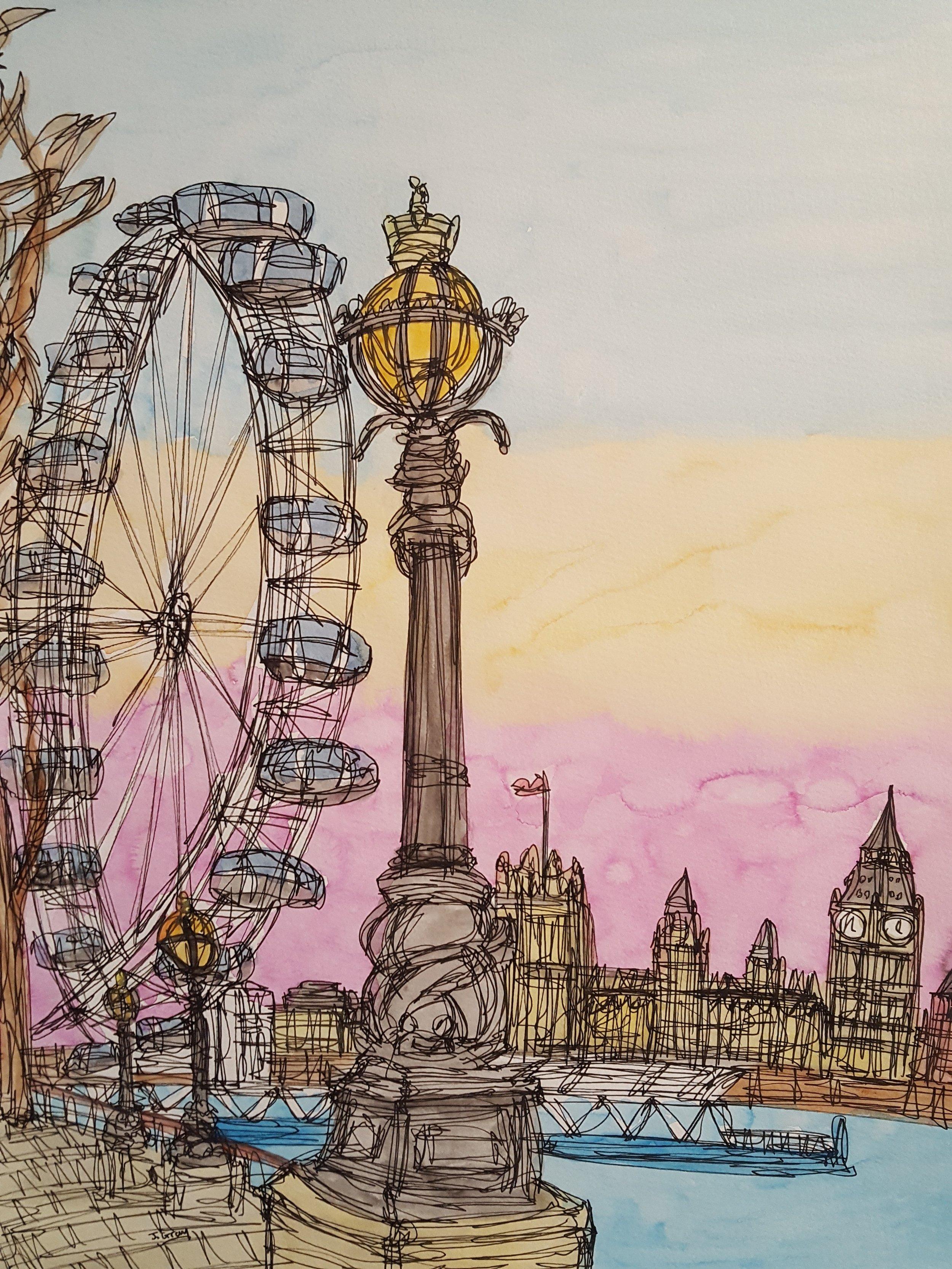 'Sunset over the London Eye', 2017. Watercolour & Fine liner on paper, 43 x 53cm. £345.jpg