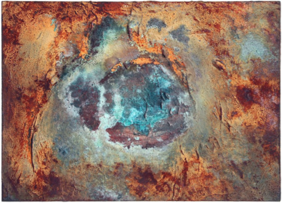 Oasis |  Sand, copper and iron, acrylic paint &polyfiller on canvas | 50 cm x 70 cm |£1,600