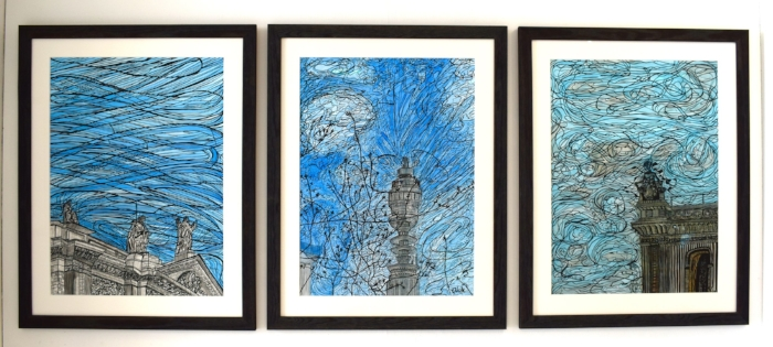 From left to right: Crossed Skies, 2015 | Ink on paper | 68.5 x 88.5 cm | £2,545 / Radio Active Skies, 2015 | Ink on paper | 68.5 x 88.5 cm | £1,695 / Spiritual Air | Ink on paper | 68.5 x 88.5 cm | £2,695