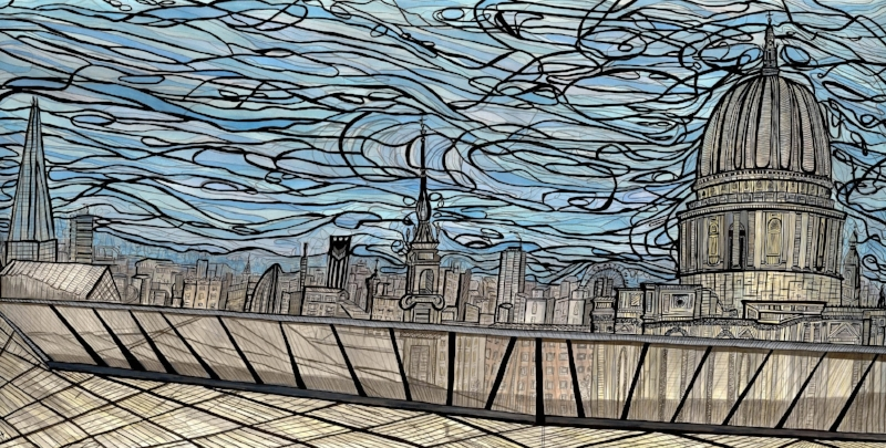 The Change City View, 2015 | Ink on paper | 127.5 x 67 cm (framed) | £4,460