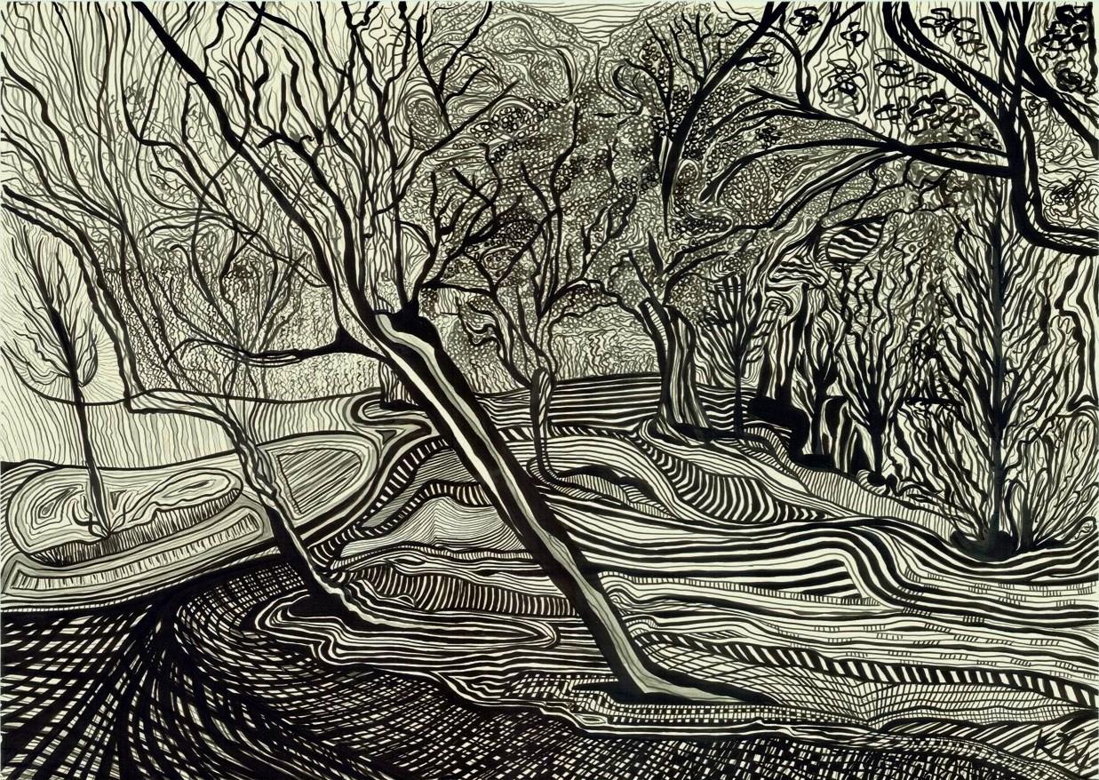 Landscape in Dimensions, 2014   Ink on paper   96 x 72 cm (framed)   £3,150