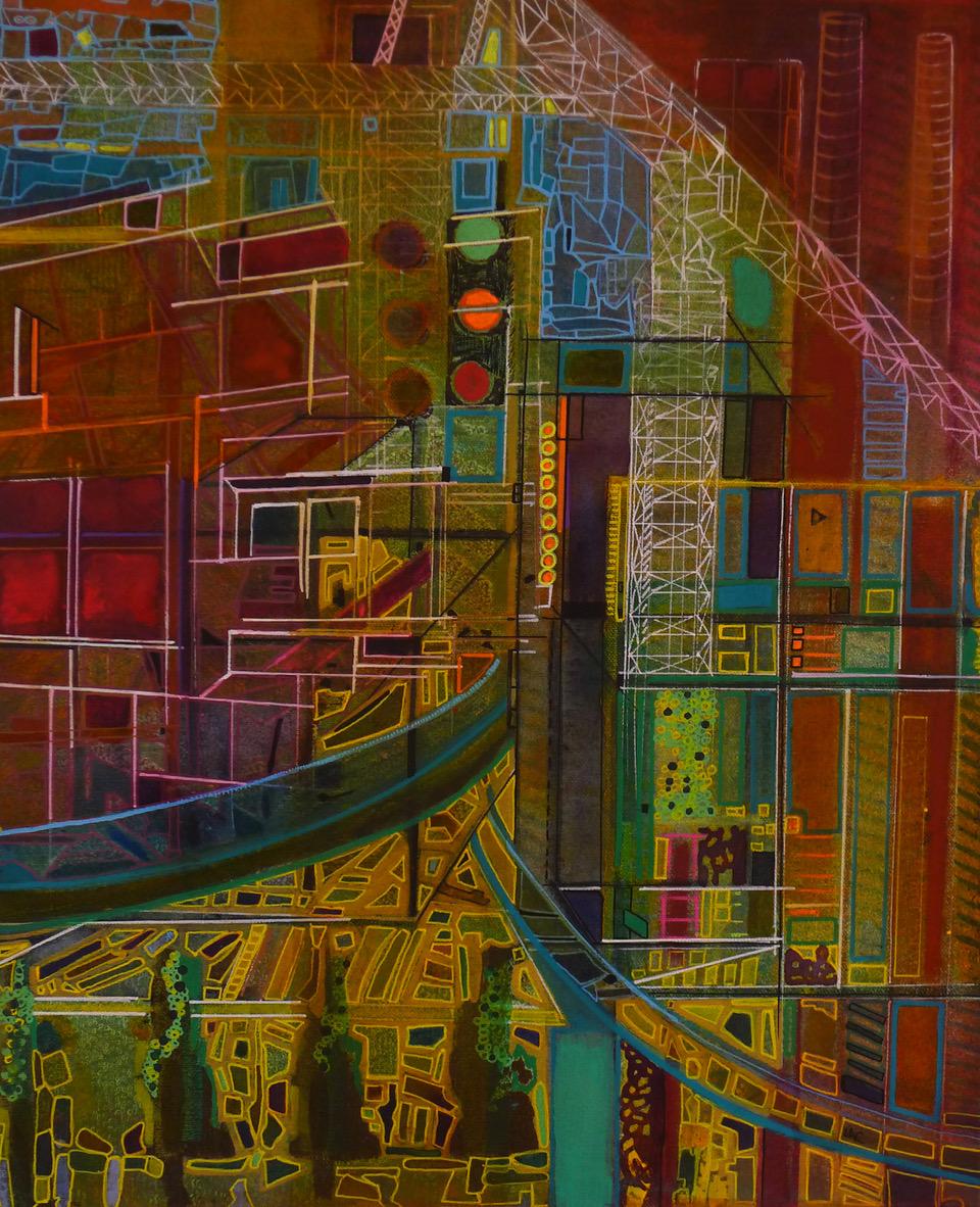 Blueprint, 2018 | Mixed media on canvas | 54 x 44 cm (framed) | £550