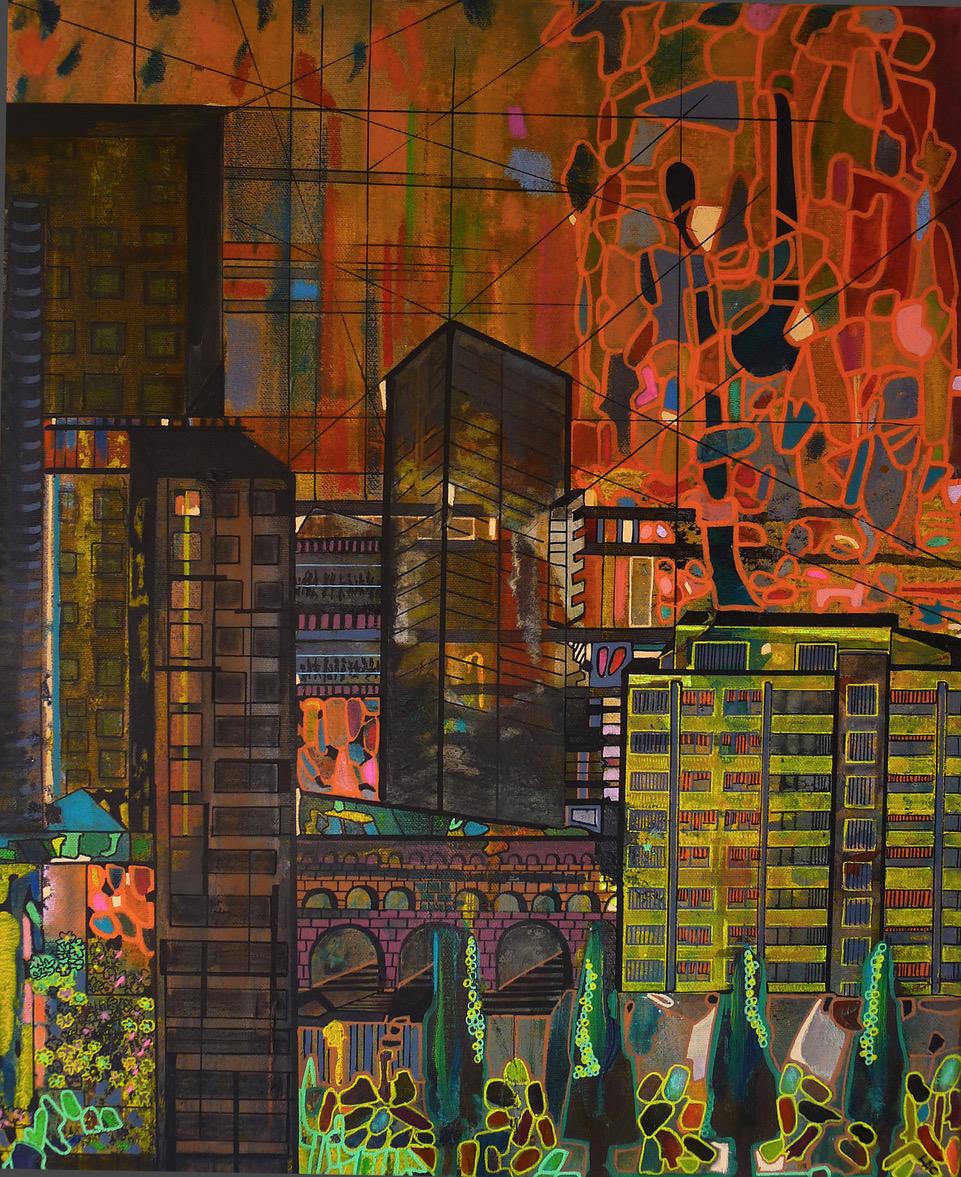 Into Twilight, 2018 | Mixed media on canvas | 54 x 44 cm (framed) | £550