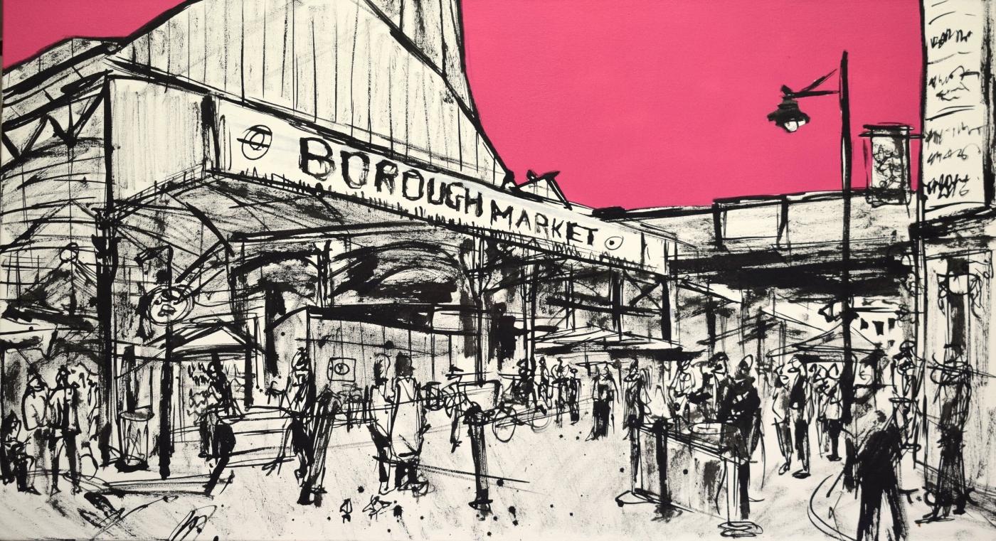 Borough Market sketch #1, 2018 | Spray paint & Indian ink on canvas | 100 x 55 cm | £600