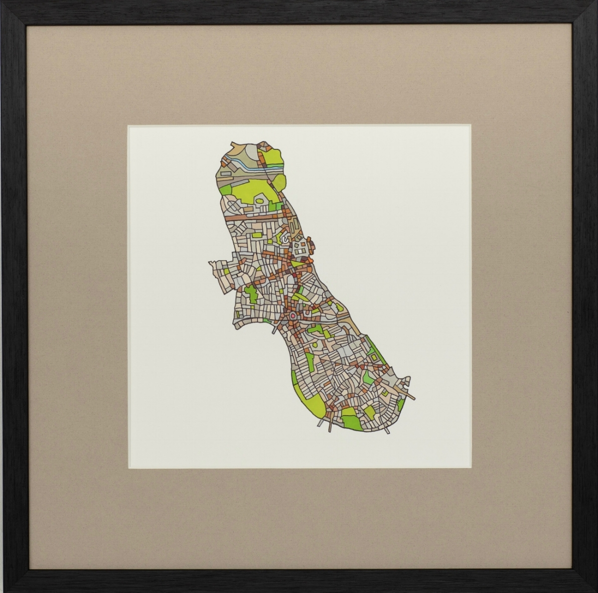 London Borough of Hammersmith & Fulham 2018 | Ink on Paper | 44 x 44 cm (framed) | £450