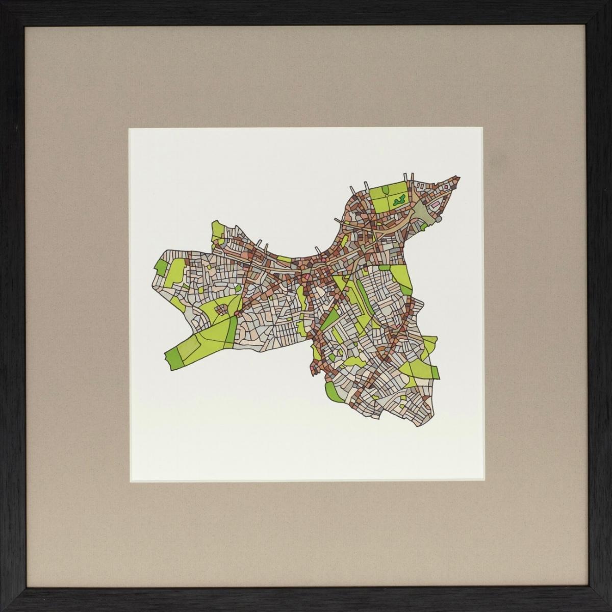 London Borough of Wandsworth 2018 | Ink on Paper | 44 x 44 cm (framed) | £450