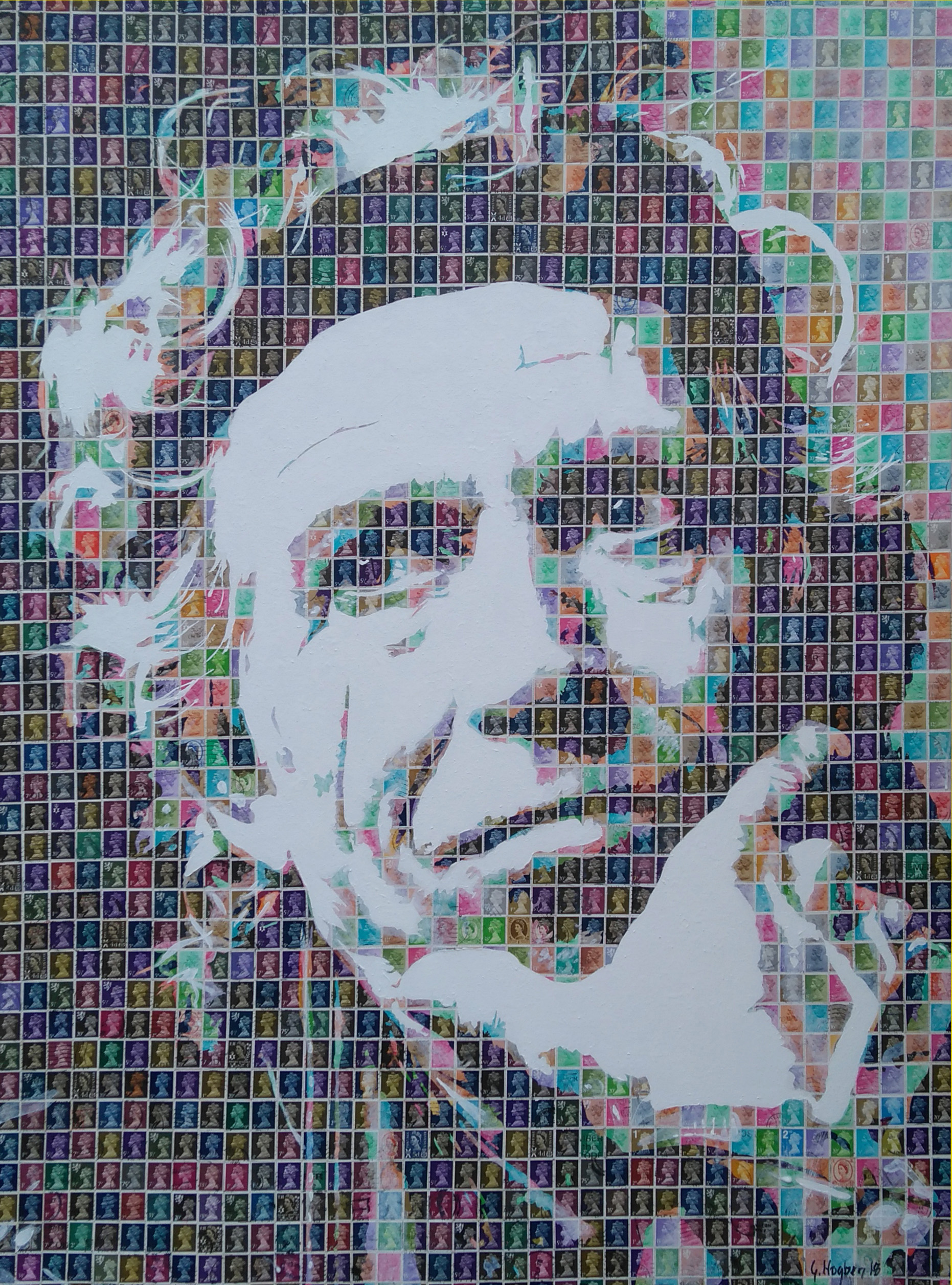 Keith Richards, 2018. stamps and acrylics on canvas. 76 x 102 cm. £3,000.jpg