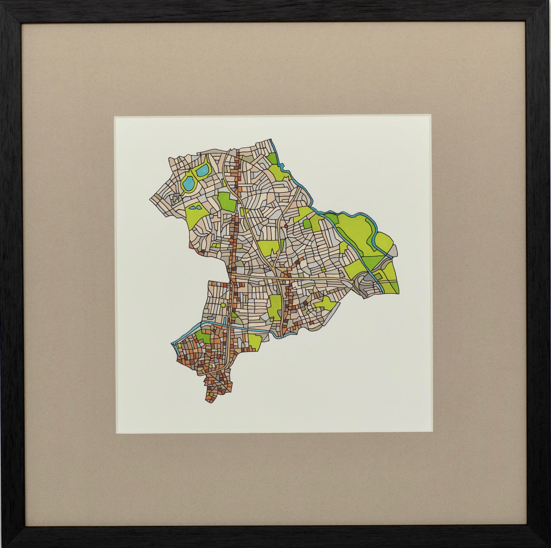 London Borough of Hackney, 2018 | Ink on Paper | 44 x 44 cm | £450 (framed)