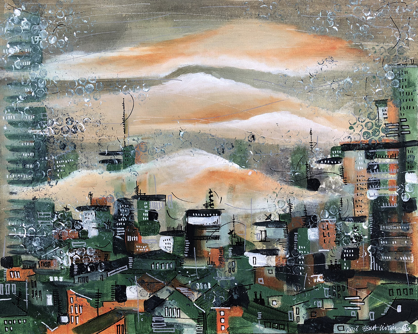 Untitled City, 2018 | Acrylic on canvas panel | 35 x 50 cm | £650
