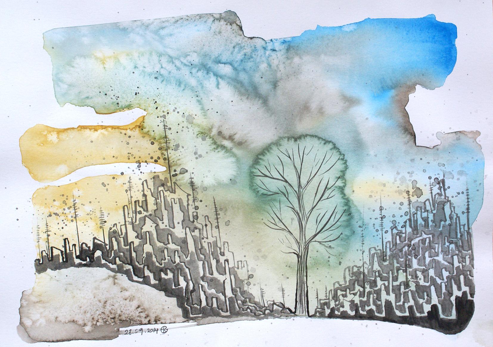 Under Siege, 2014 | Watercolour & ink on paper | 21 x 30 cm | £370